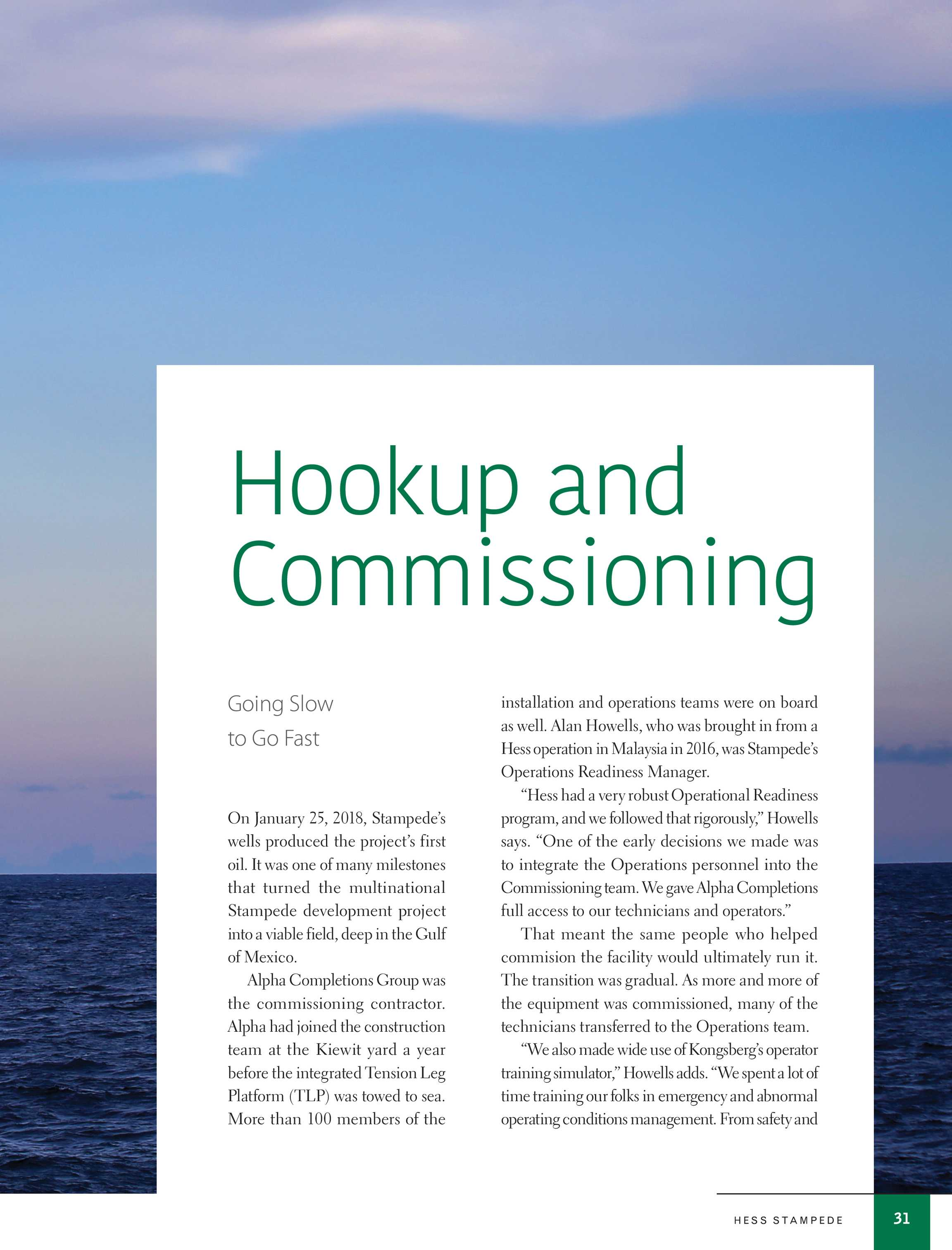 hook up and commissioning process