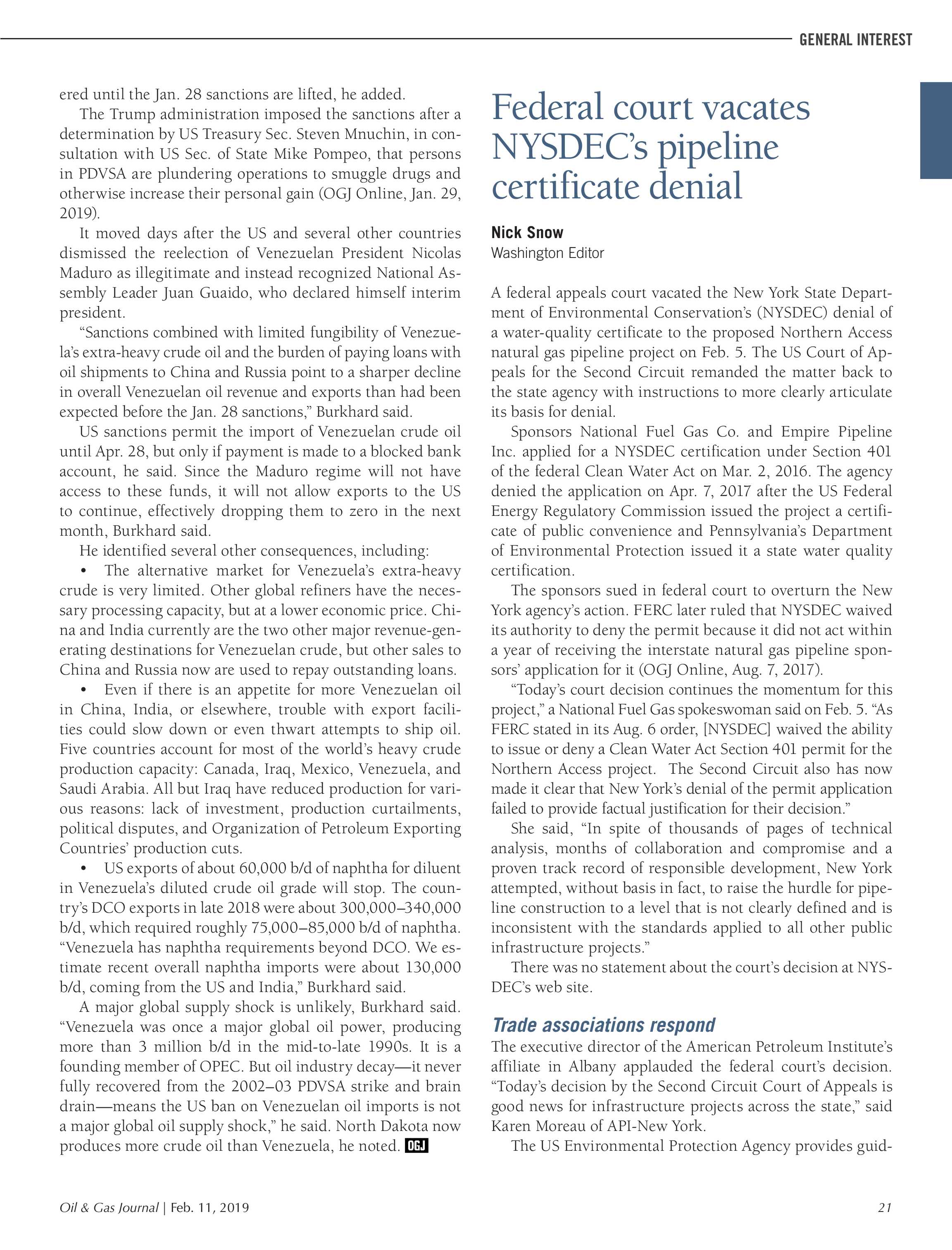 Oil & Gas Journal - February 11, 2019 - page 21