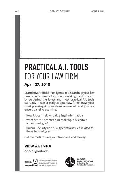Ontario Reports - April 6, 2018 - Page xxvi-xxvii