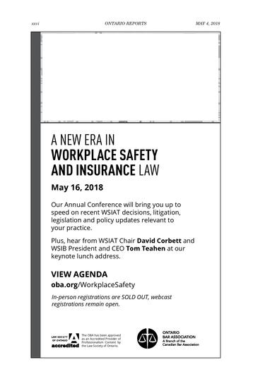 Ontario Reports - May 4, 2018 - Page xxvi-xxvii