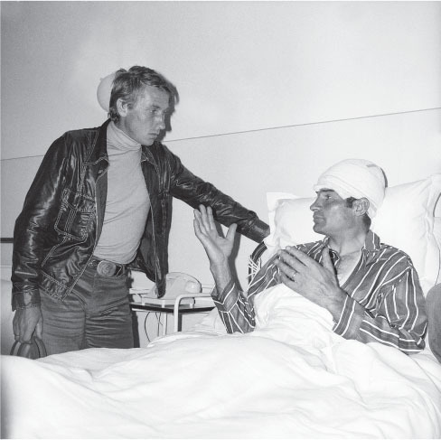 anquetil visits poulidor after his bad crash