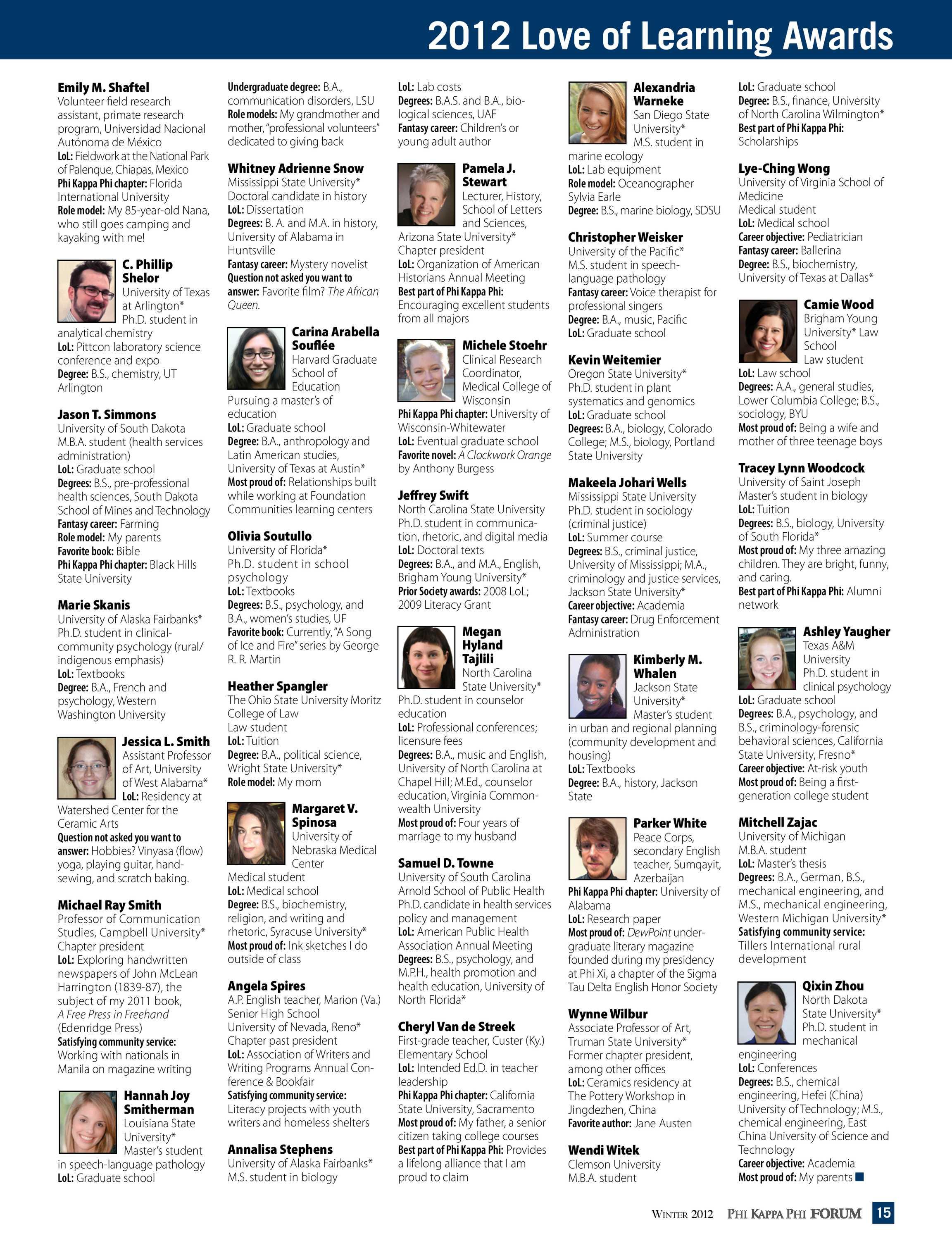 Phi Kappa Phi Forum - Winter 2012 - page 15