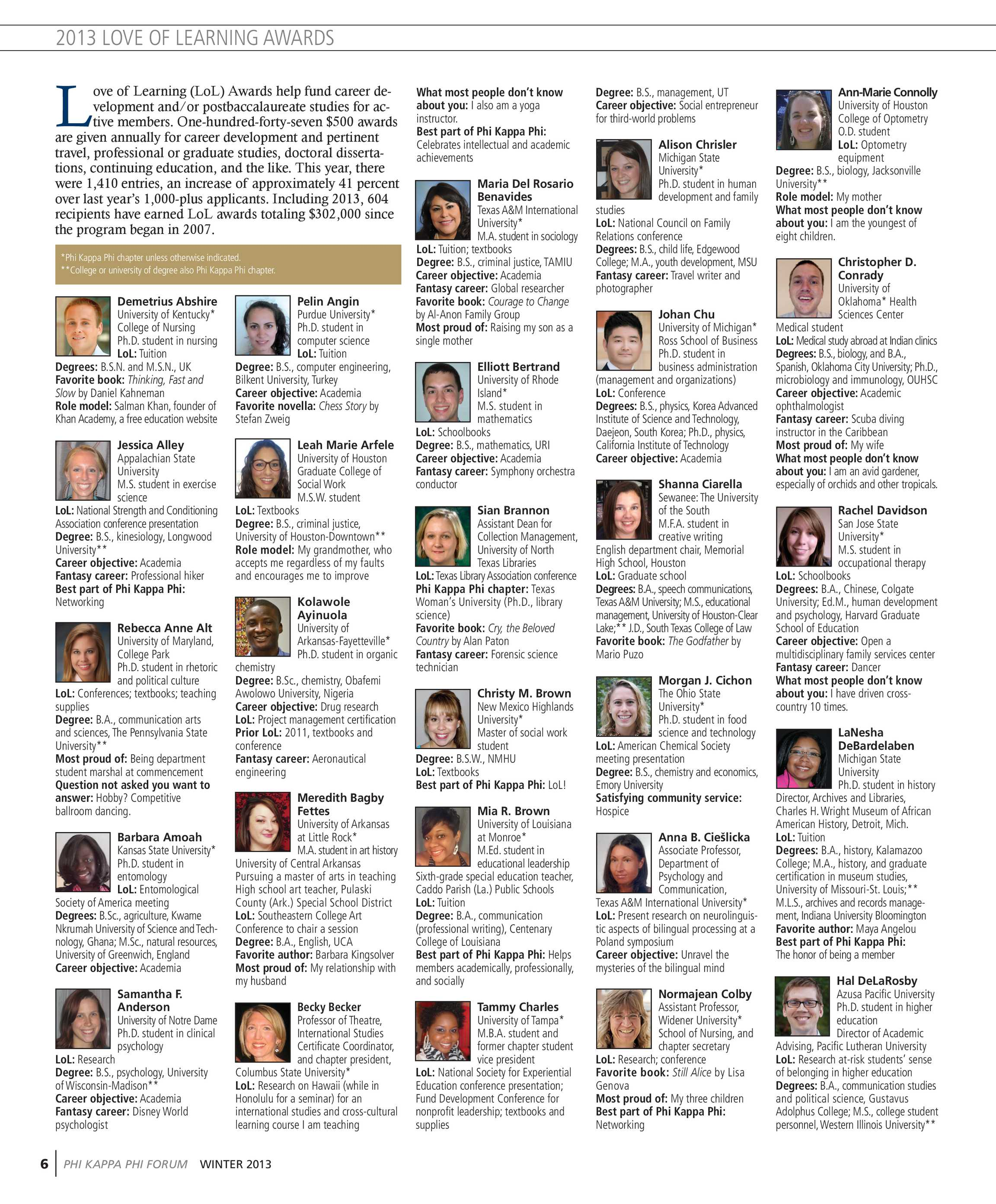 Phi Kappa Phi Forum - Winter 2013 - page 6
