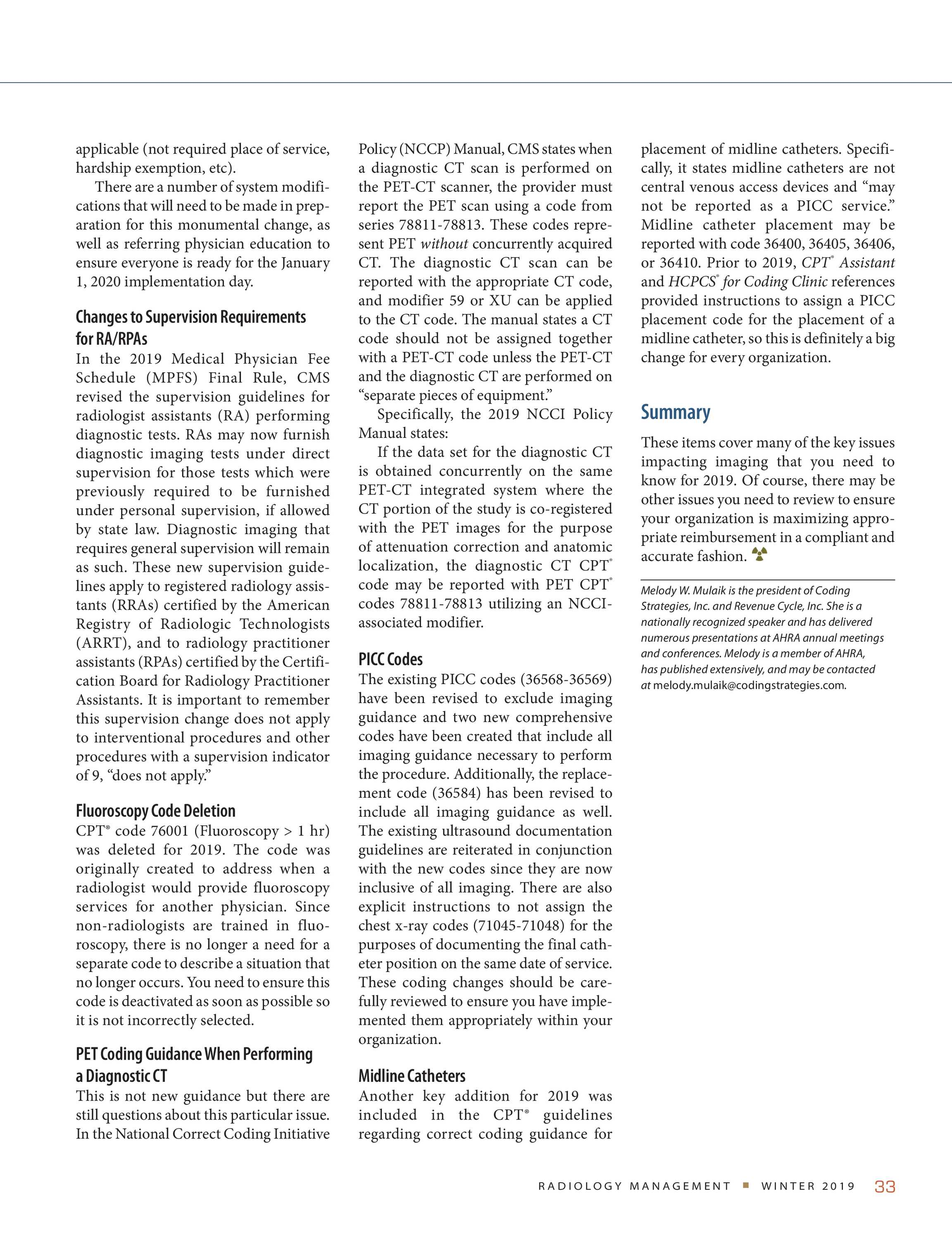 Radiology Management - January/February 2019 - page 33