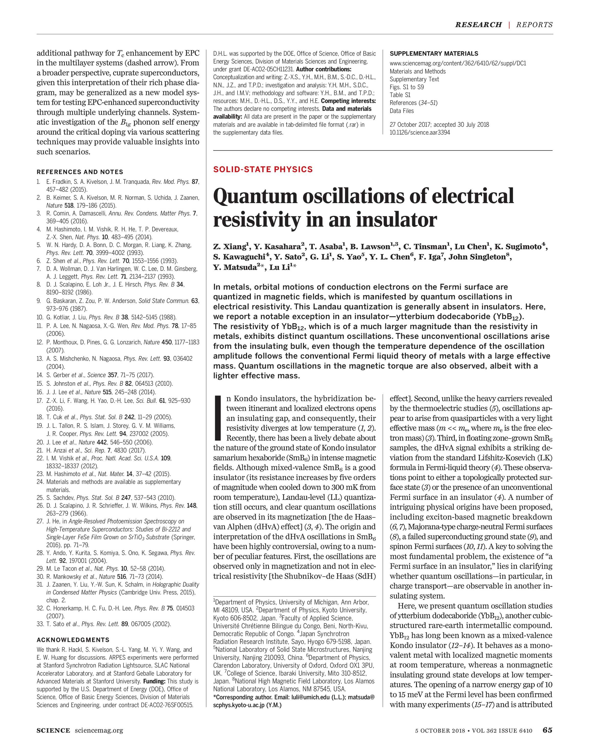 Science Magazine October 5 2018 Page 65 Electrical Conductivity Of Solid Materials