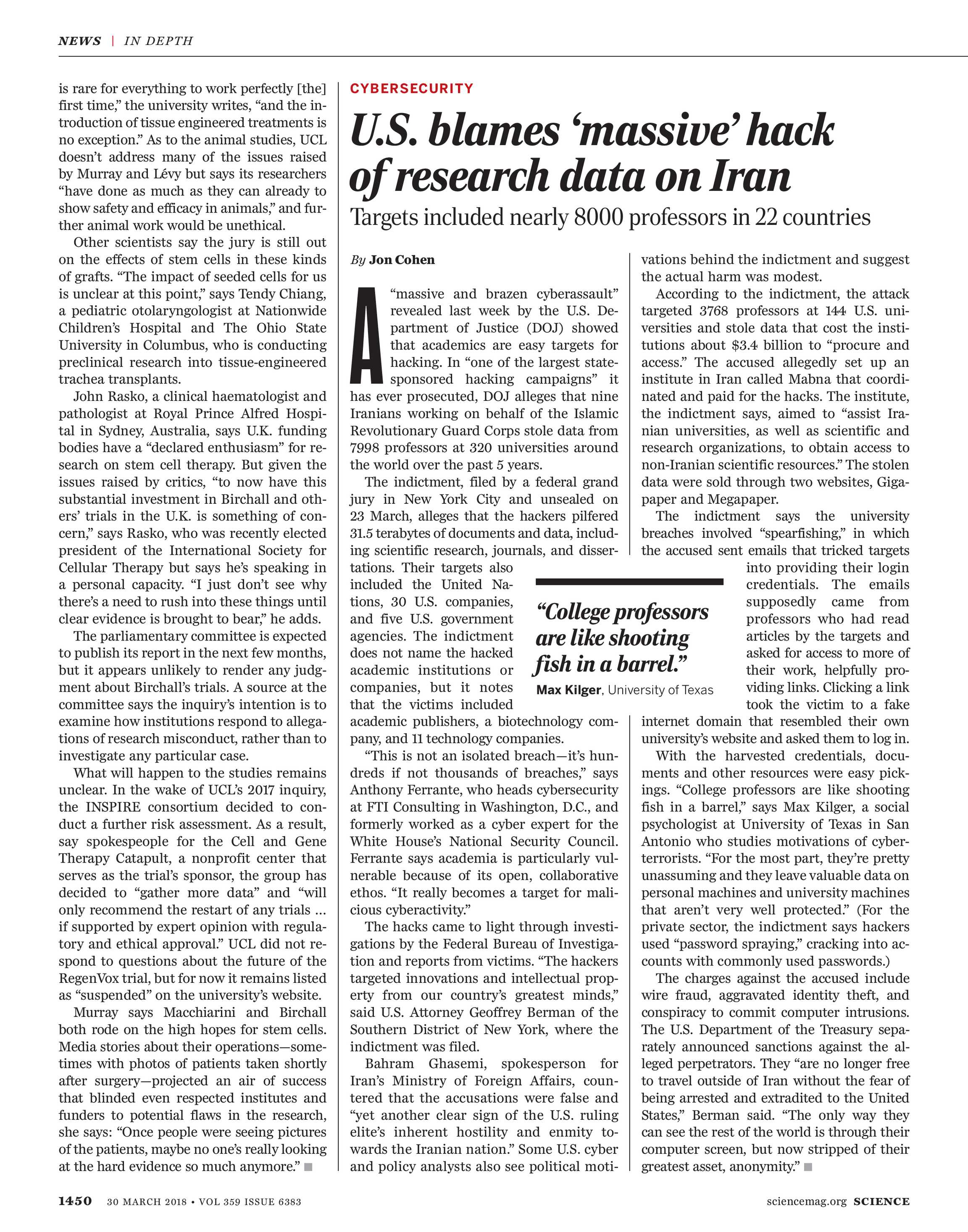 State Journal Gives More Ink To Iran >> Science Magazine March 30 2018 Page 1450