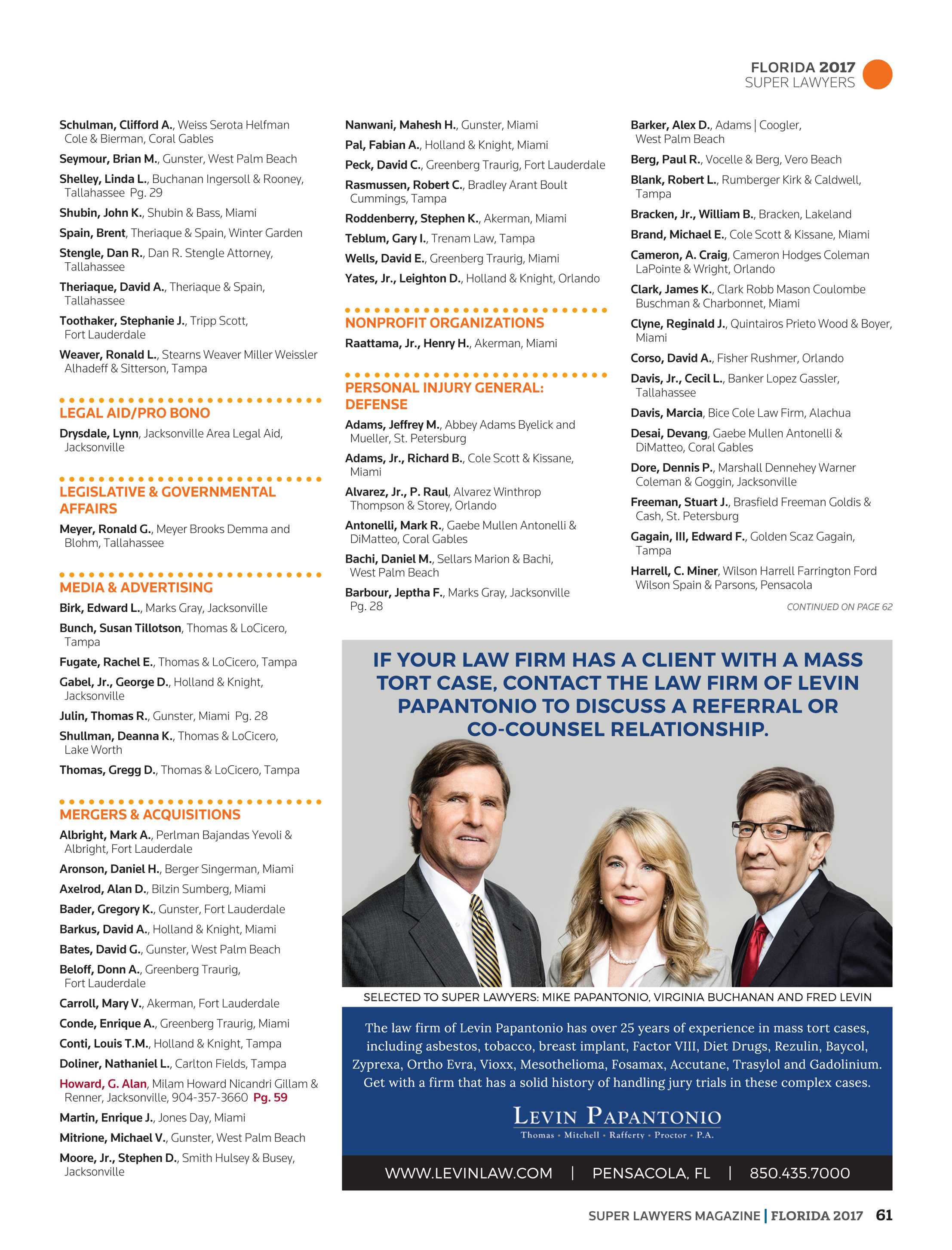 Super Lawyers Florida 2017 Page 61