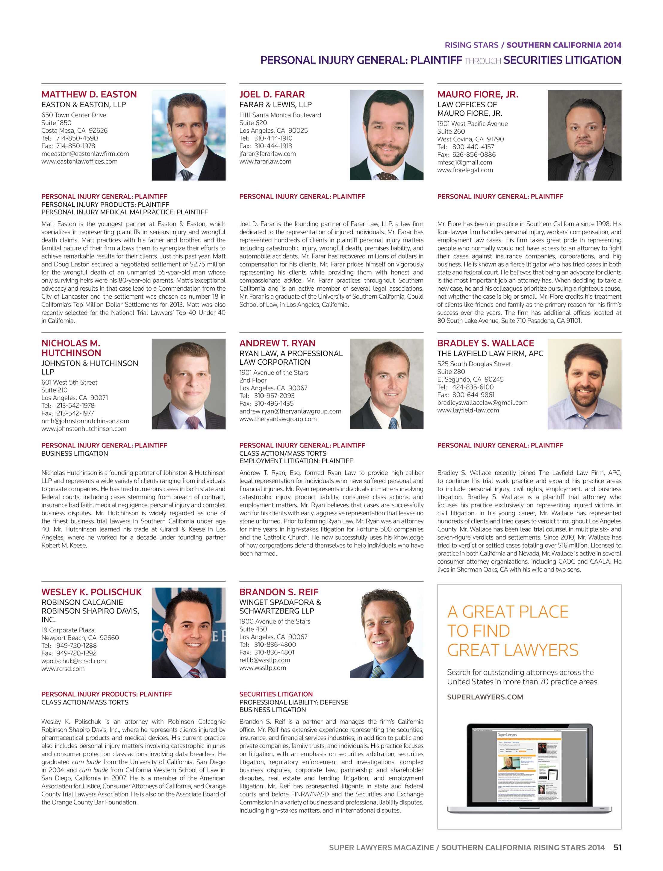 Super Lawyers Southern California Rising Stars 2014 Page 51