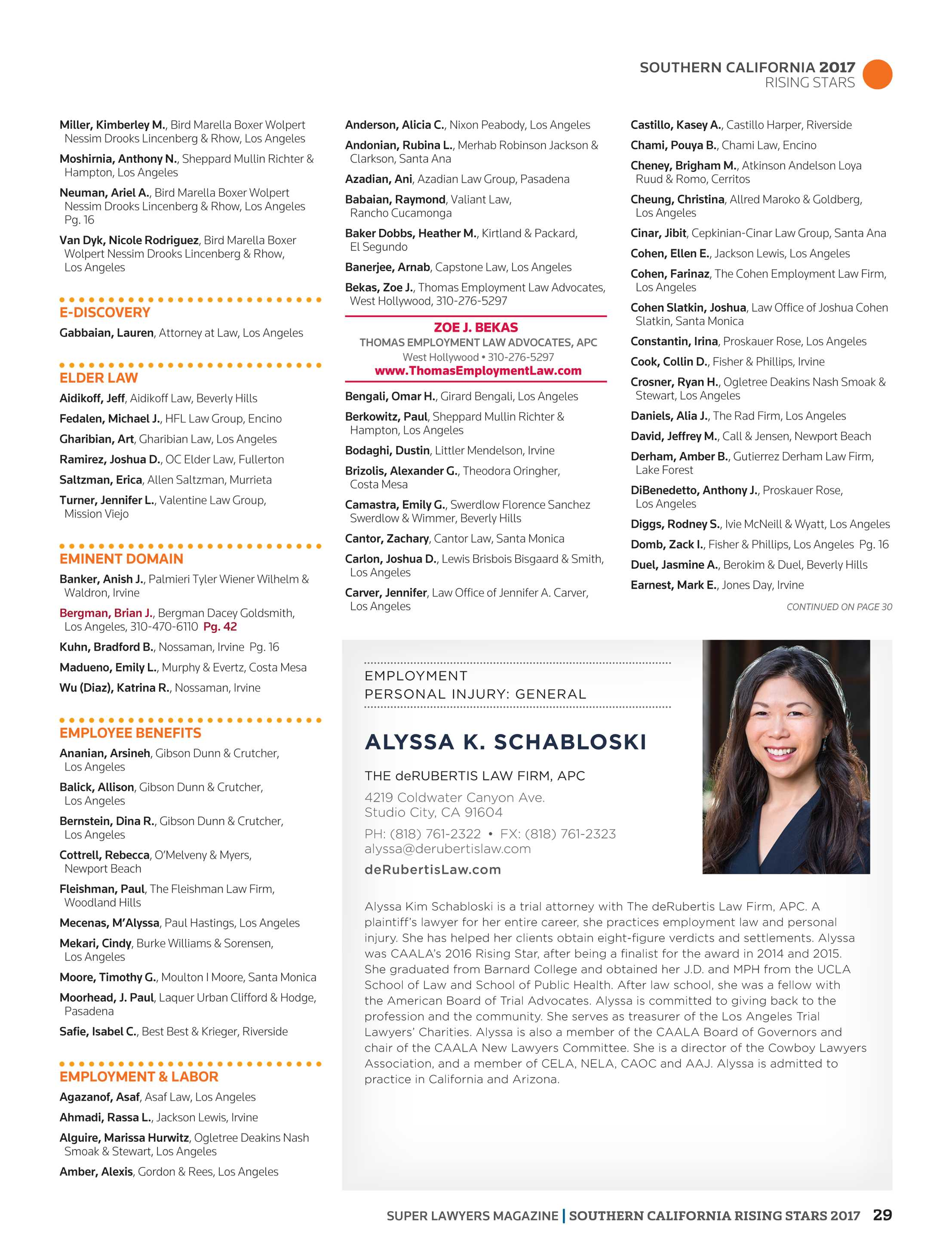 Super Lawyers Southern California Rising Stars 2017 Page 29