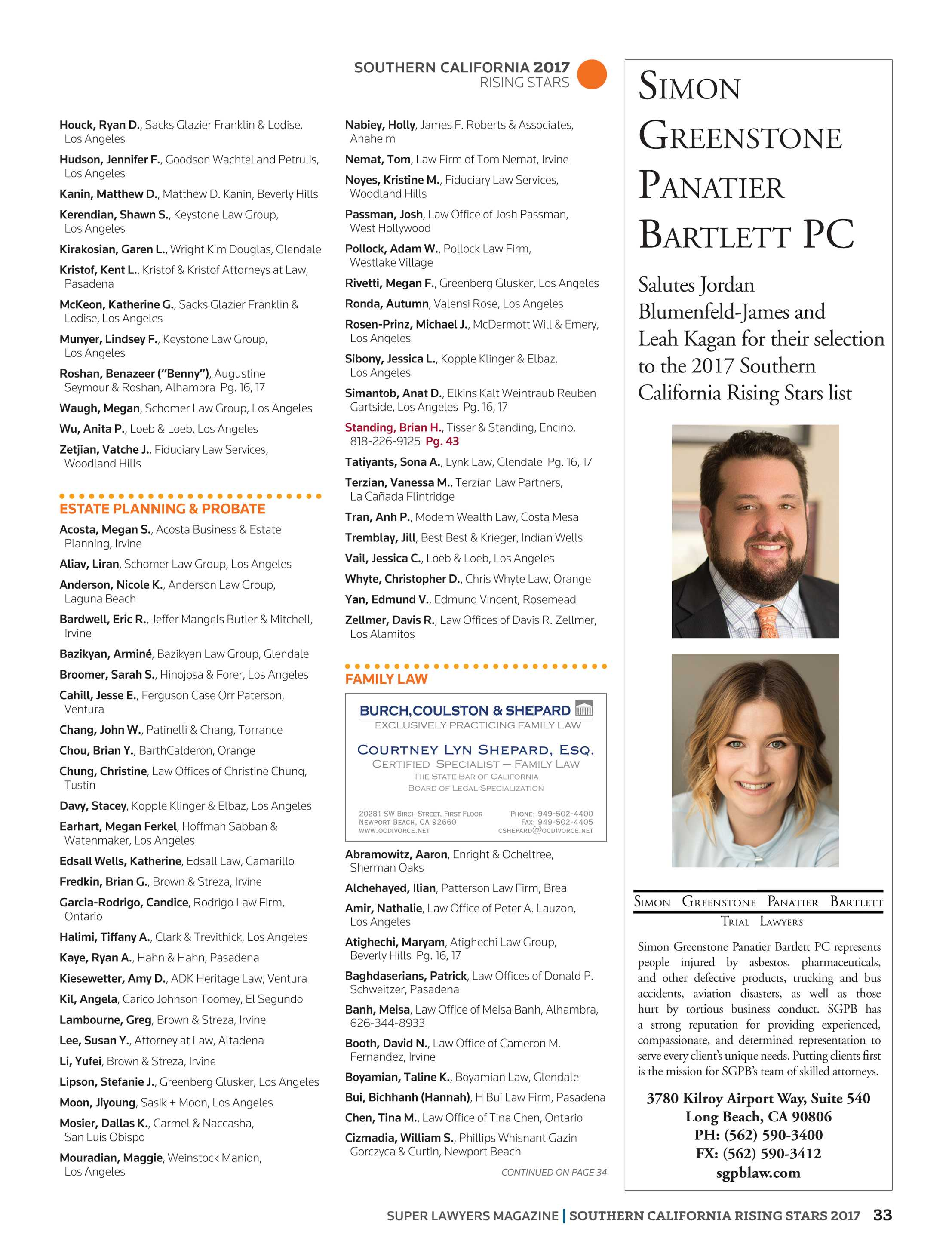 Super Lawyers - Southern California Rising Stars 2017 - page 33