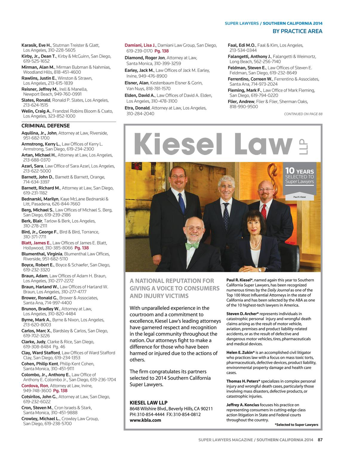 Super Lawyers - Southern California 2014 - page 88