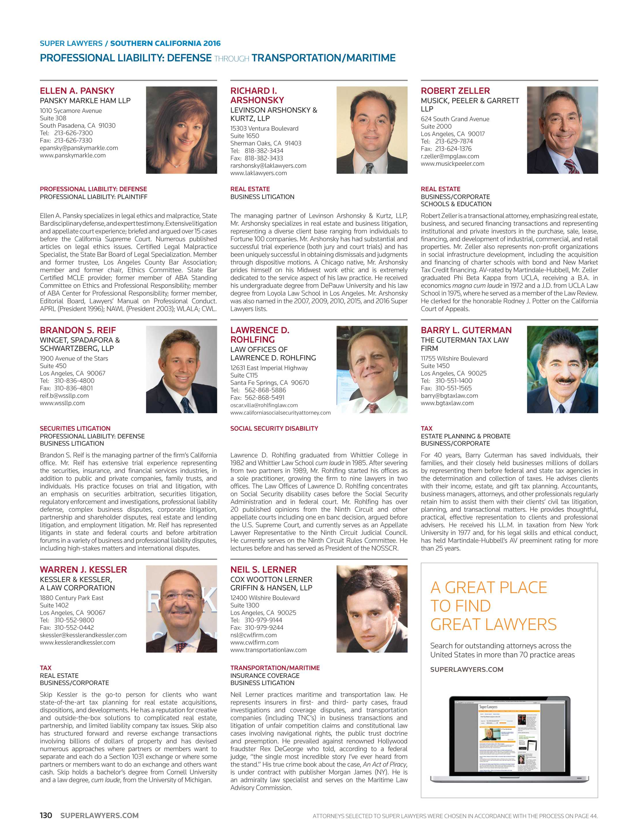 Super Lawyers Southern California 2016 Page 130