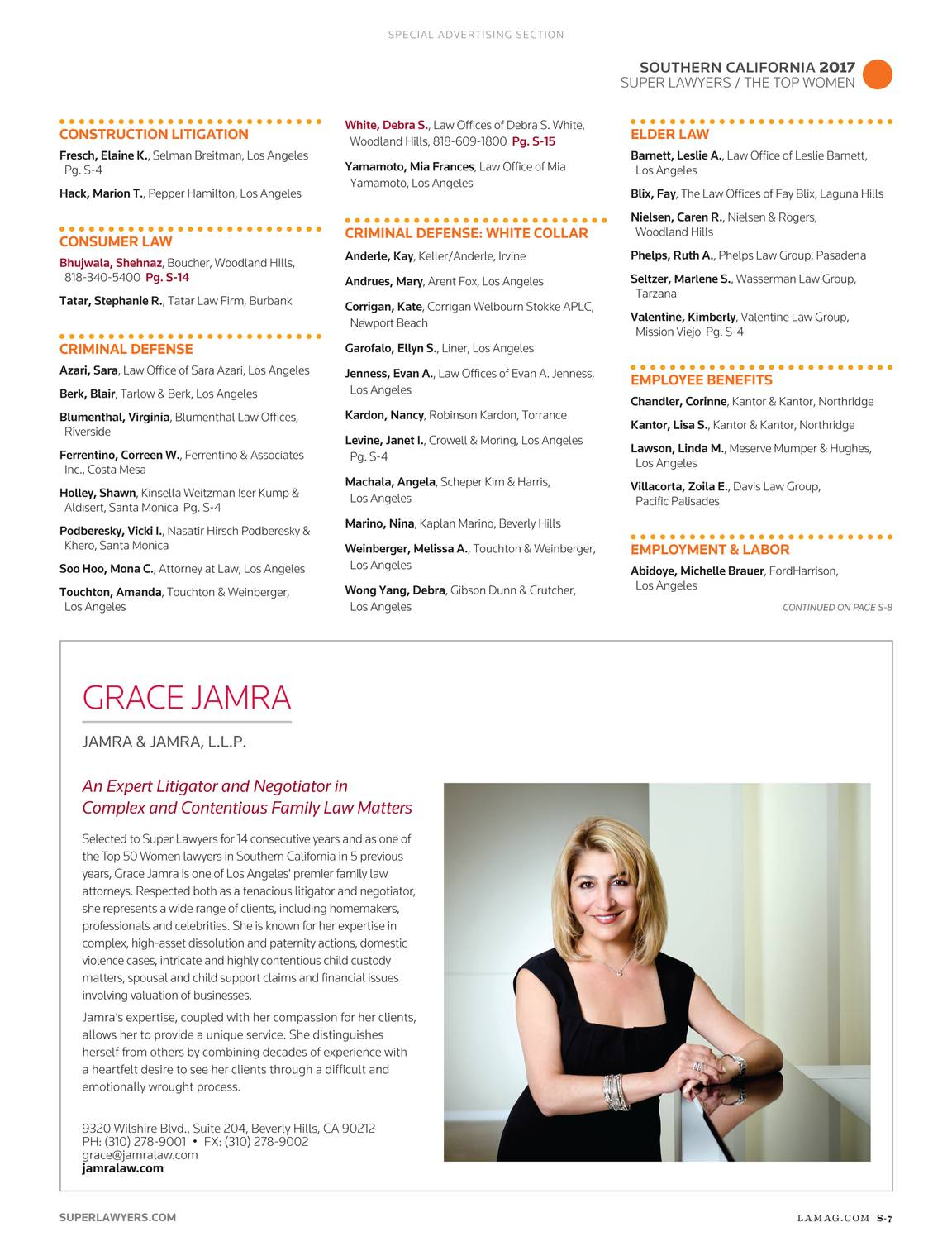 Super Lawyers The Top Women Attorneys In Southern California 2017
