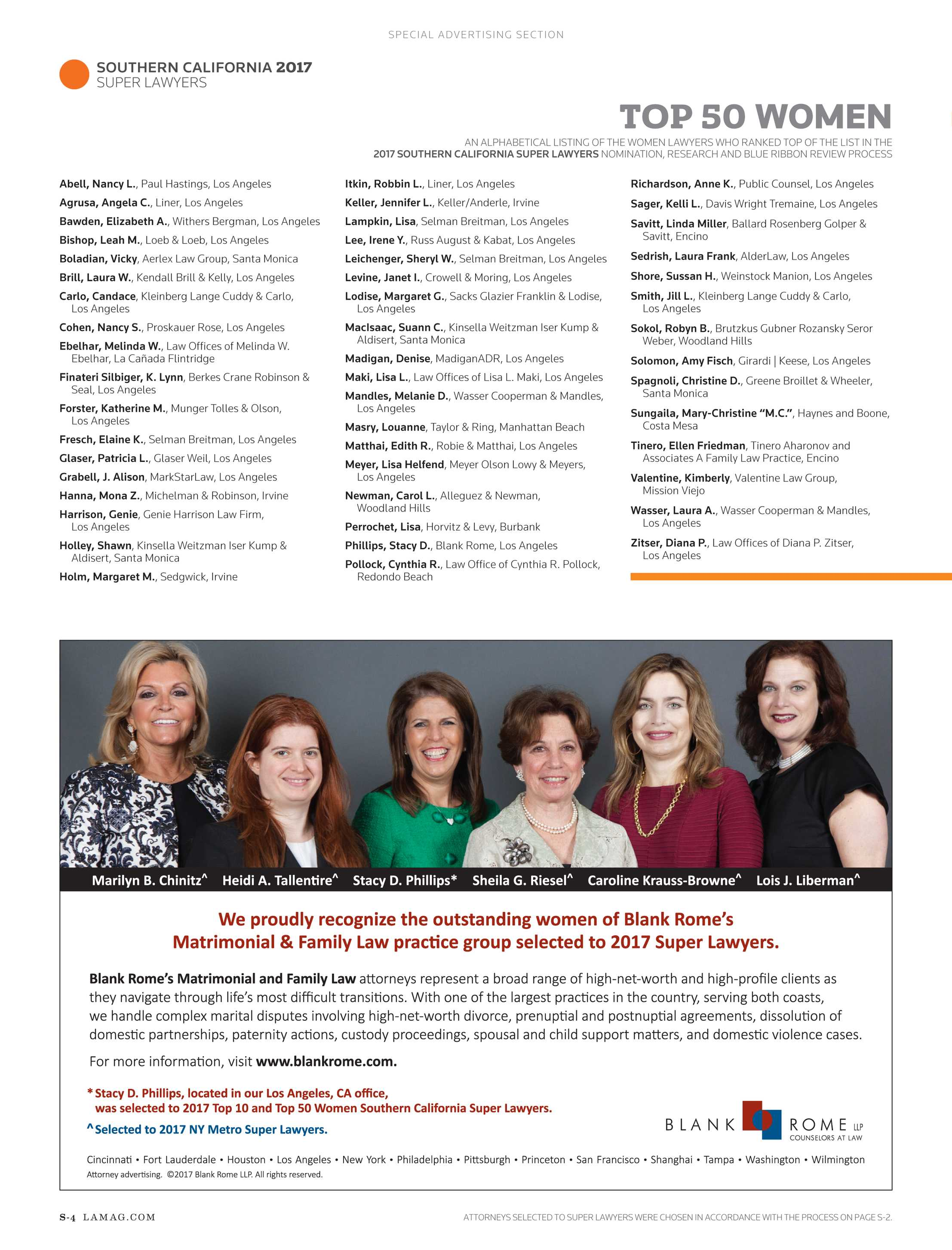 Super Lawyers - The Top Women Attorneys in Southern California 2017