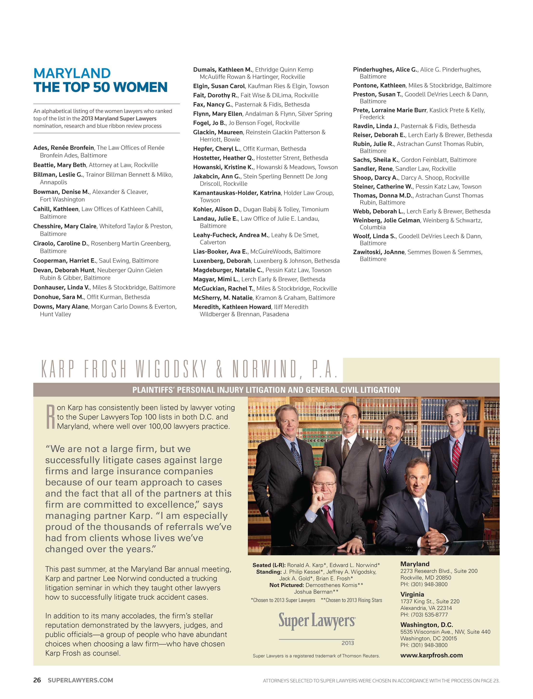 Super Lawyers - Maryland 2013 - page 26