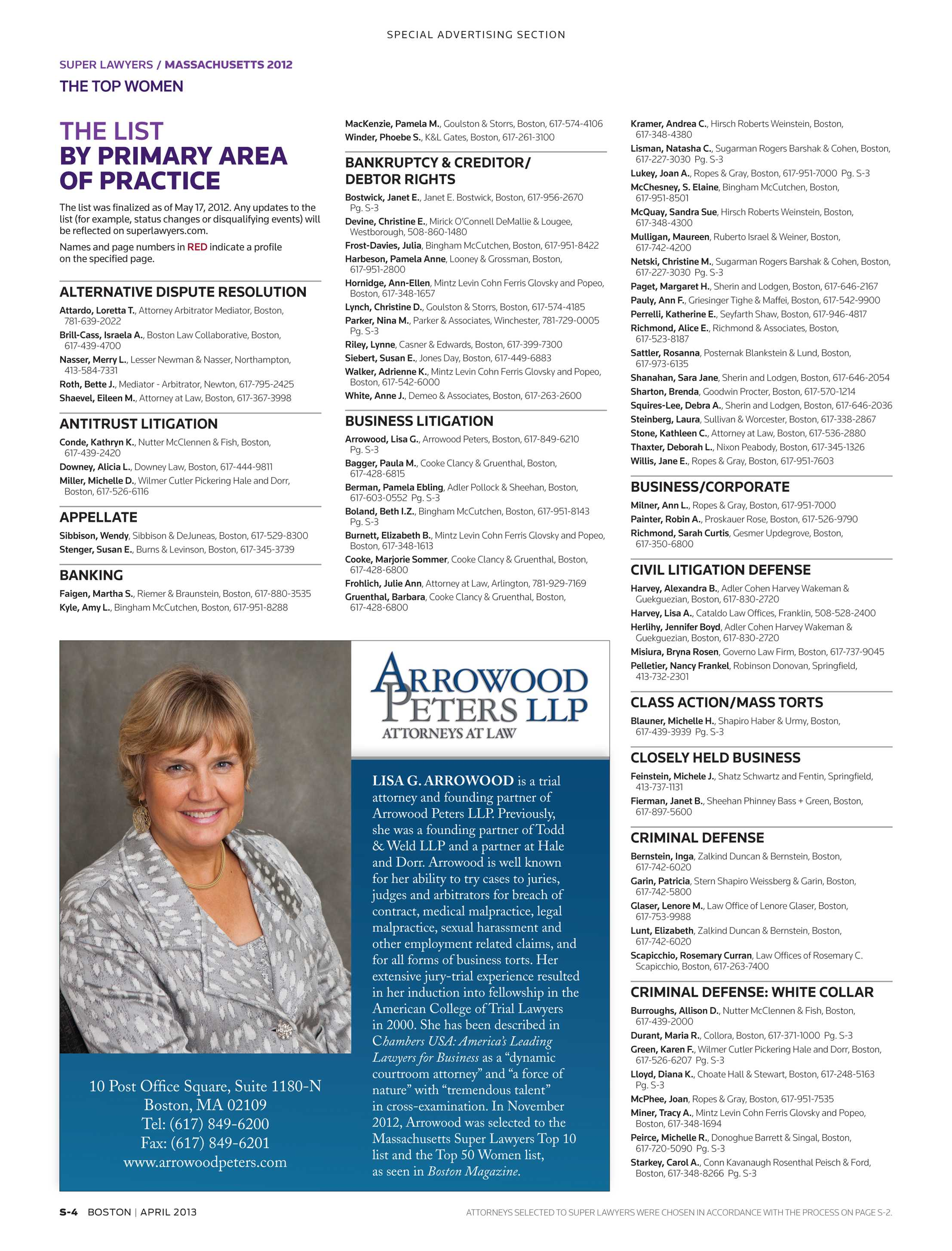 From Kotin Crabtree Strong Llp Fourth >> Super Lawyers The Top Women Attorneys In Massachusetts Page S 4