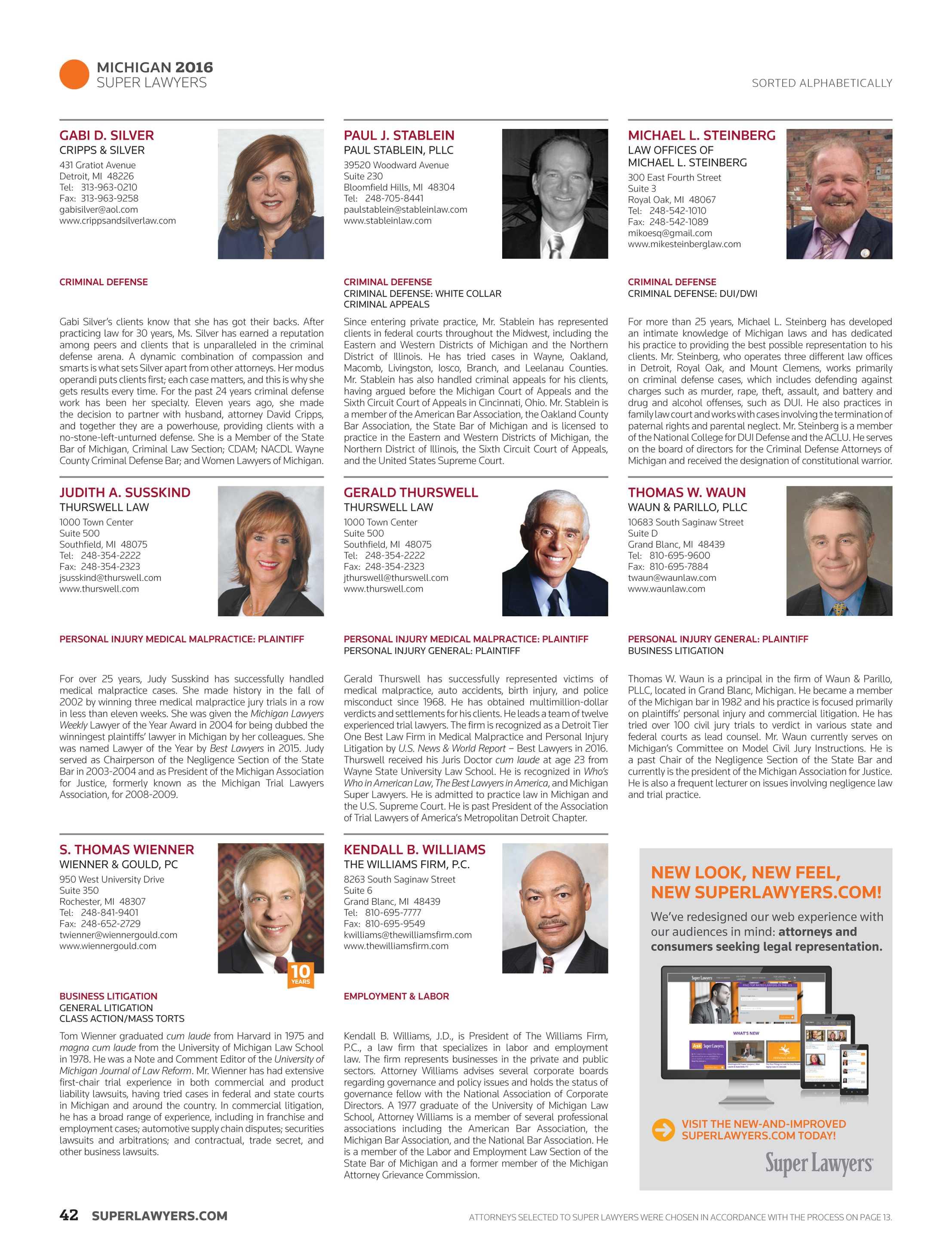 Super Lawyers Michigan 2016 Page 42