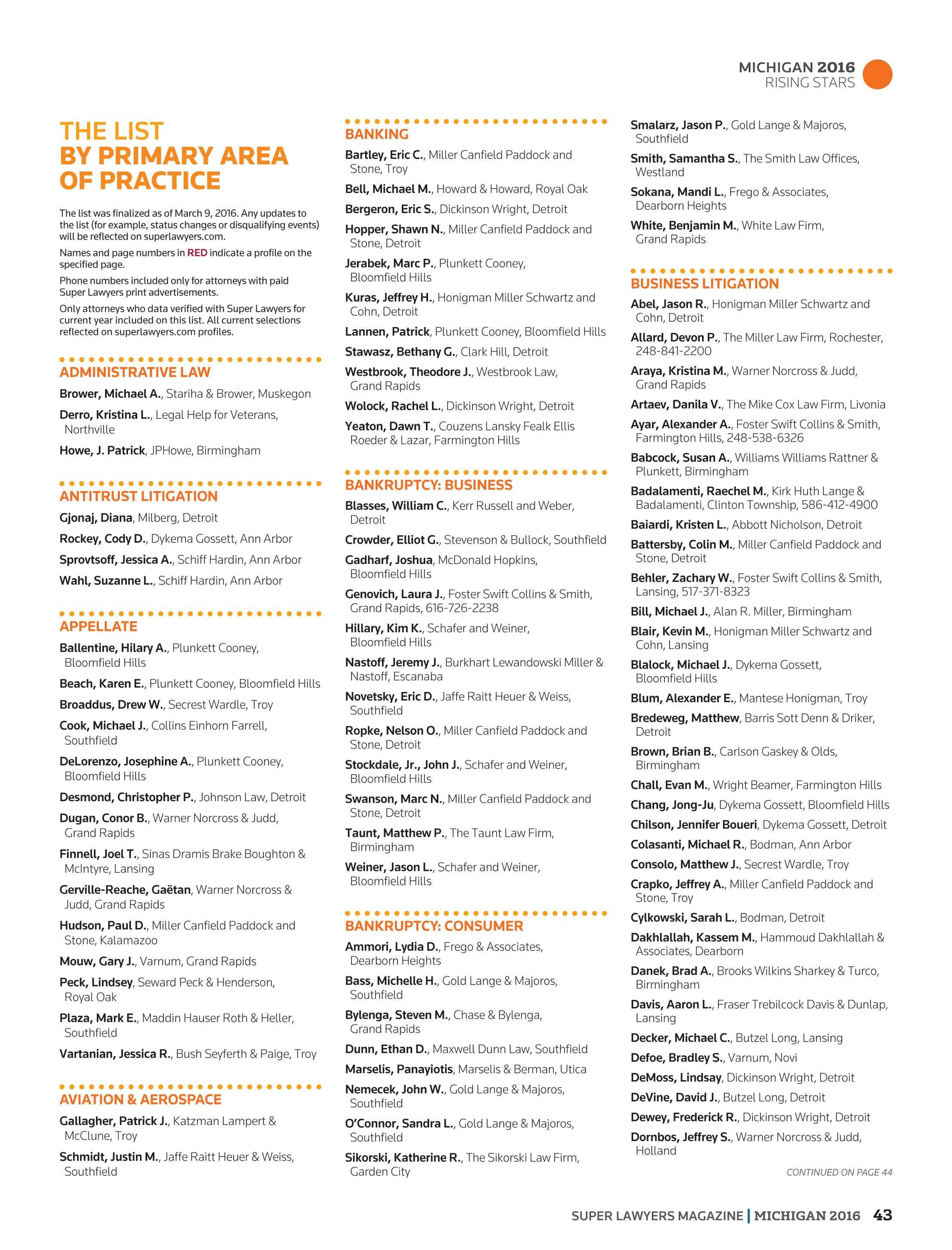 Super Lawyers Michigan 2016 Page 43