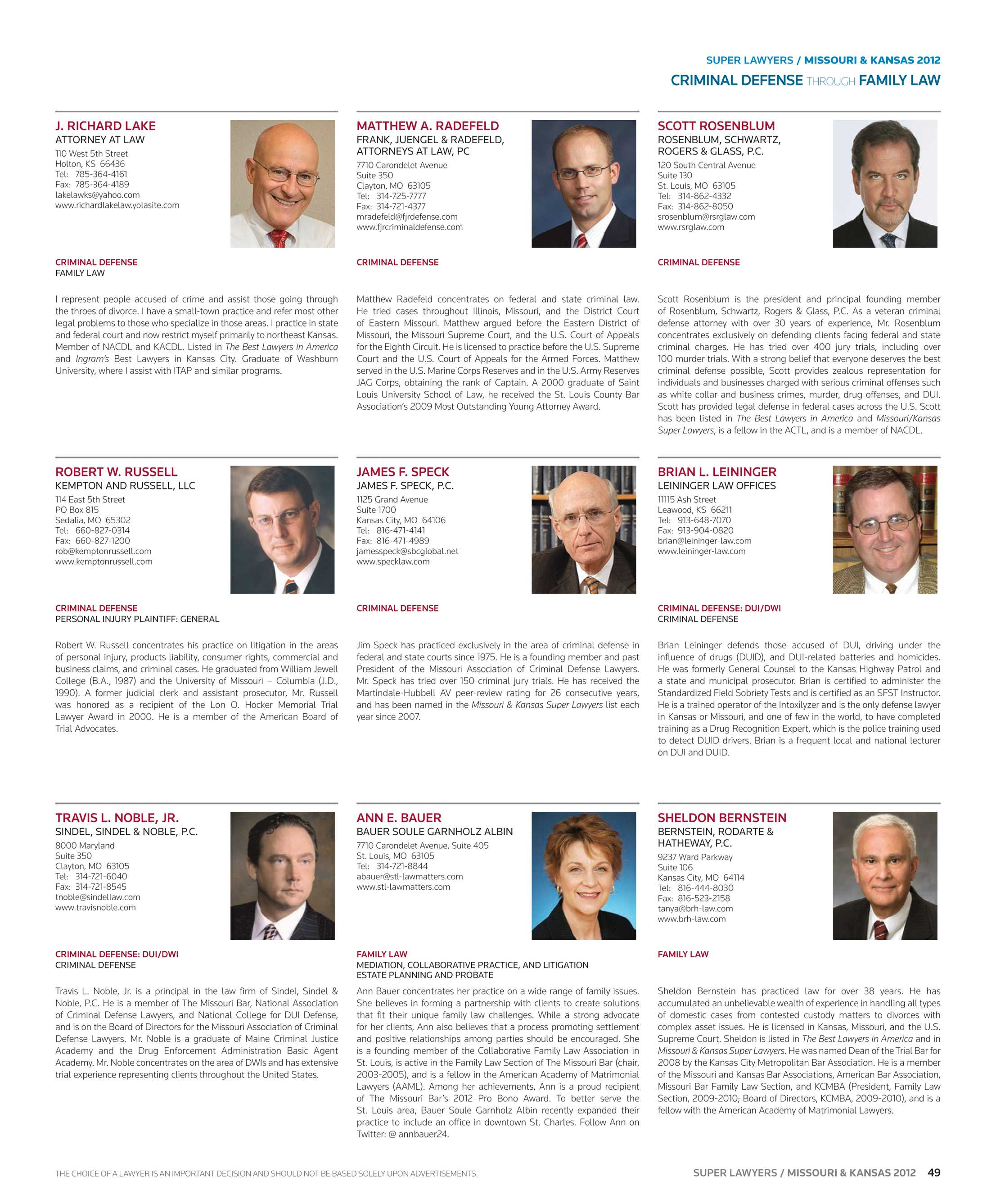 Super Lawyers - Missouri & Kansas 2012 - page 49