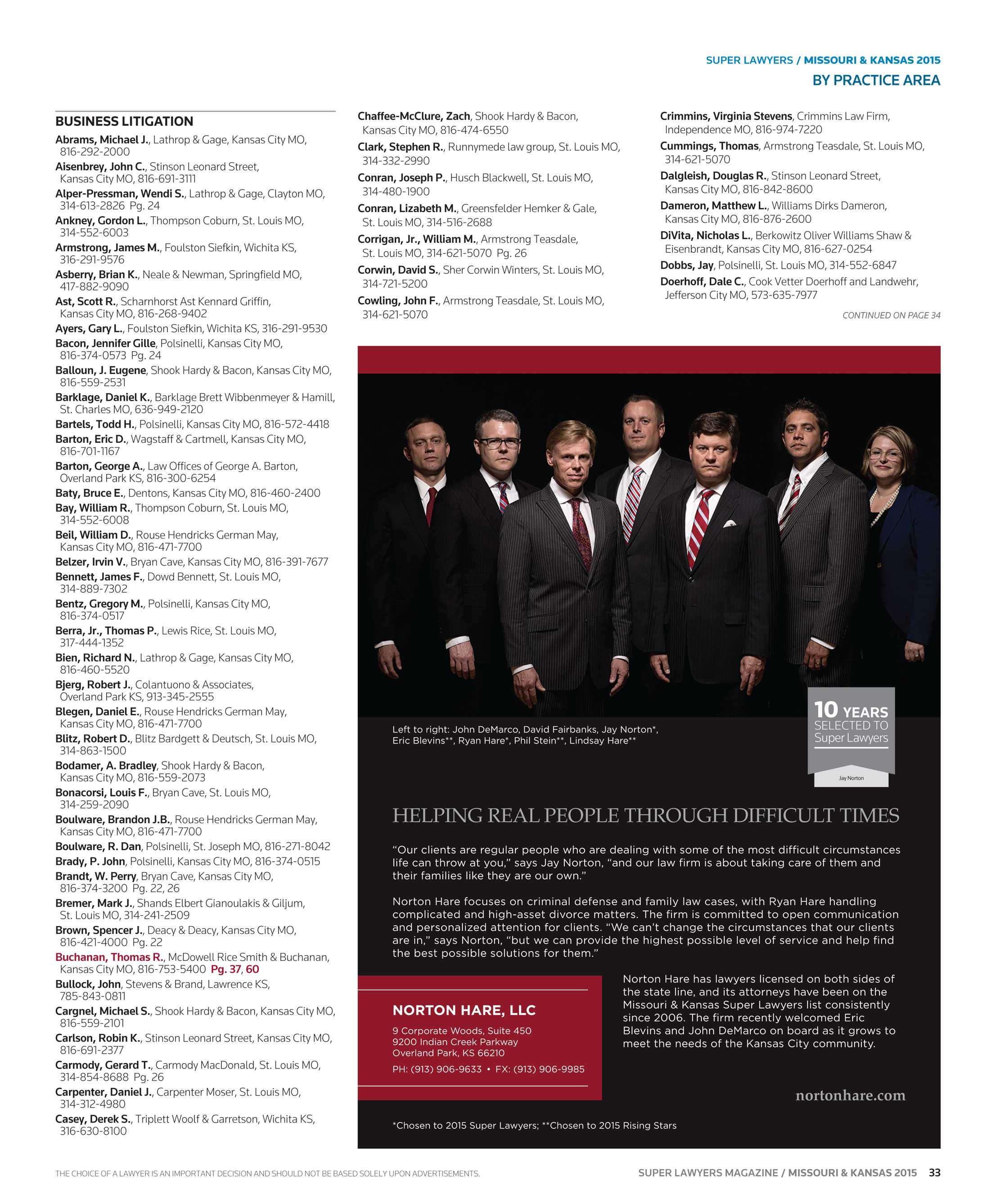 Super Lawyers - Missouri and Kansas 2015 - page 33