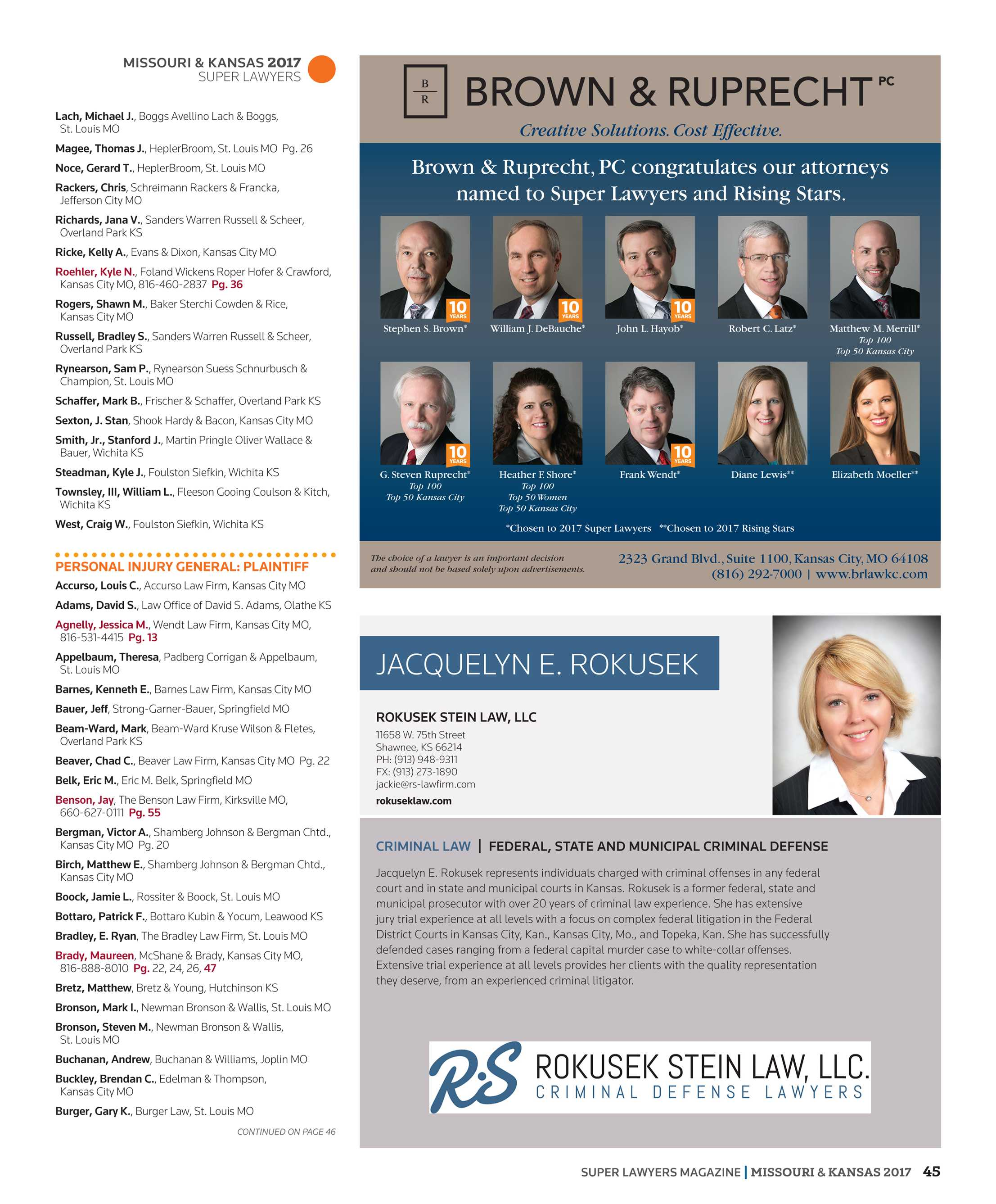 Super Lawyers - Missouri and Kansas 2017 - page 45