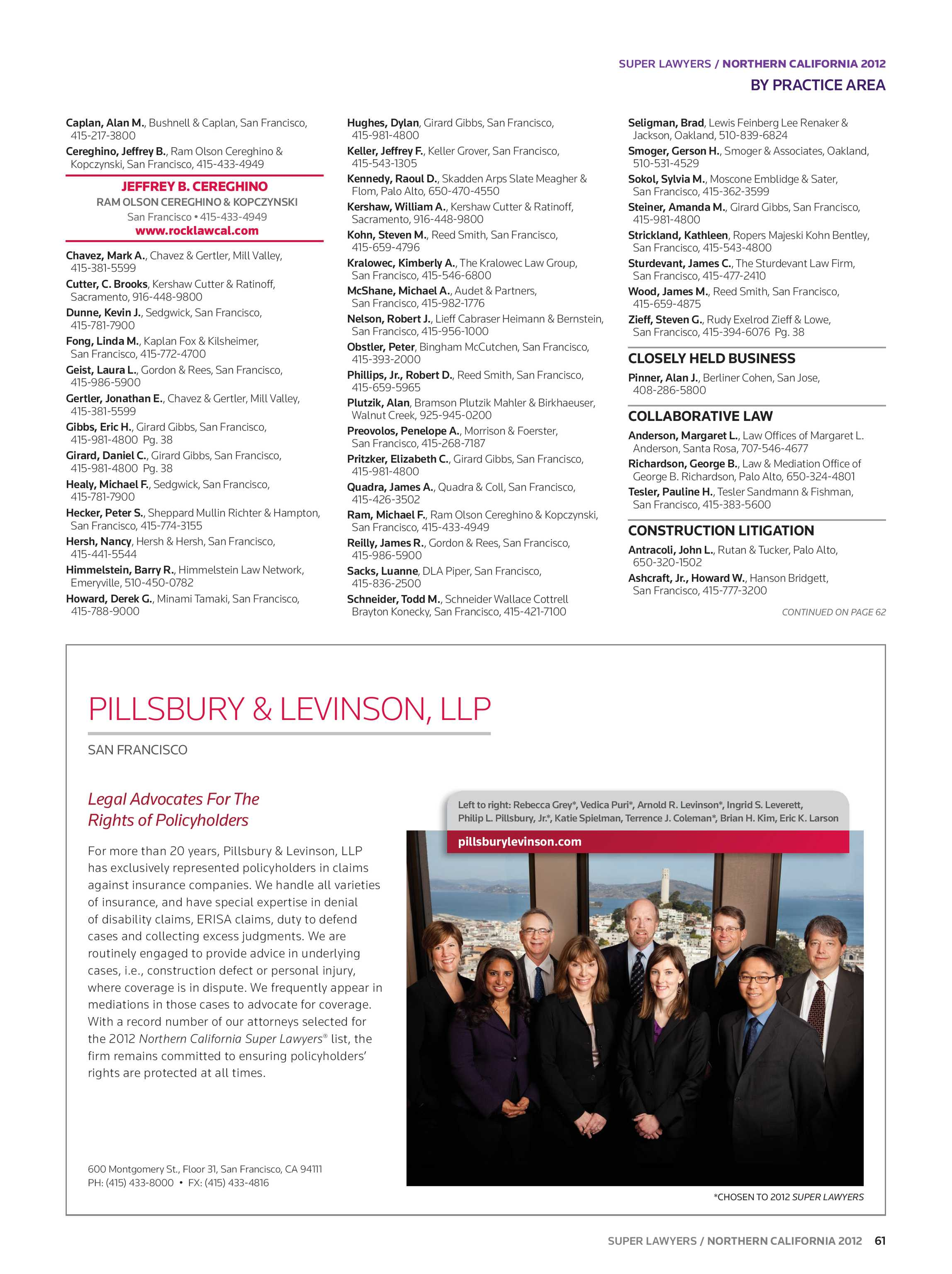 Super Lawyers - Northern California 2012 - page 61