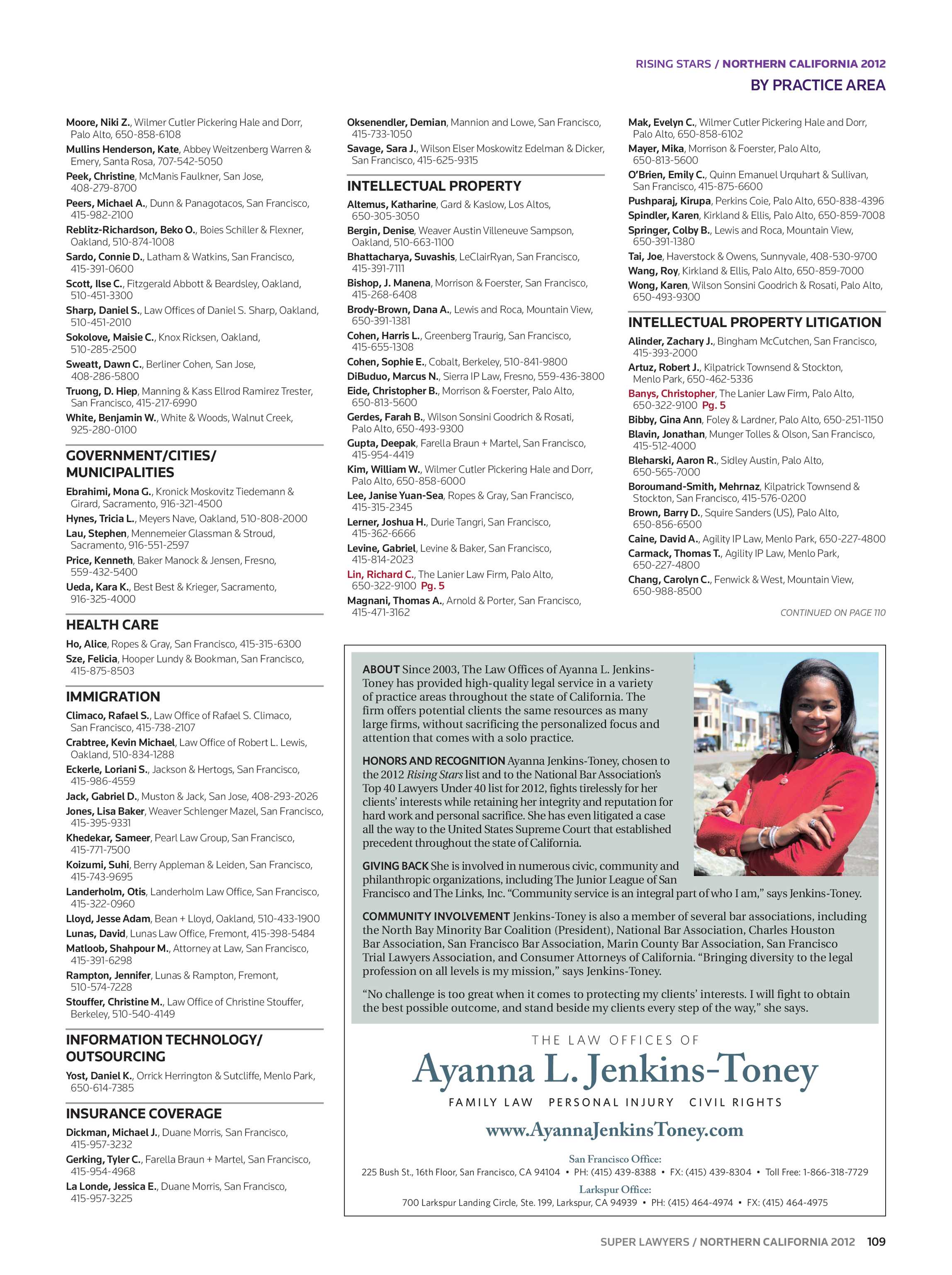 Super Lawyers - Northern California 2012 - page 109