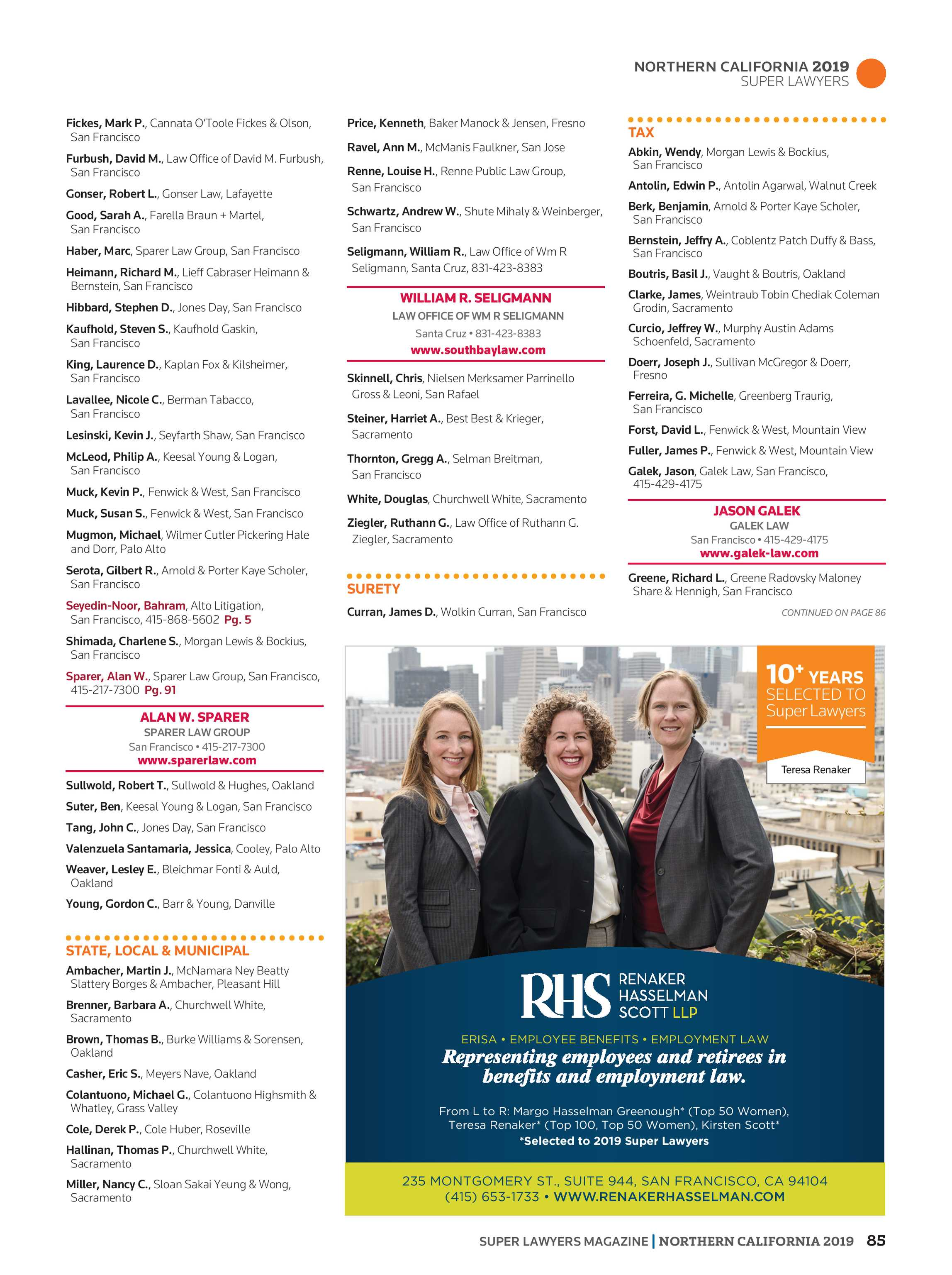 Super Lawyers - Northern California 2019 - page 85