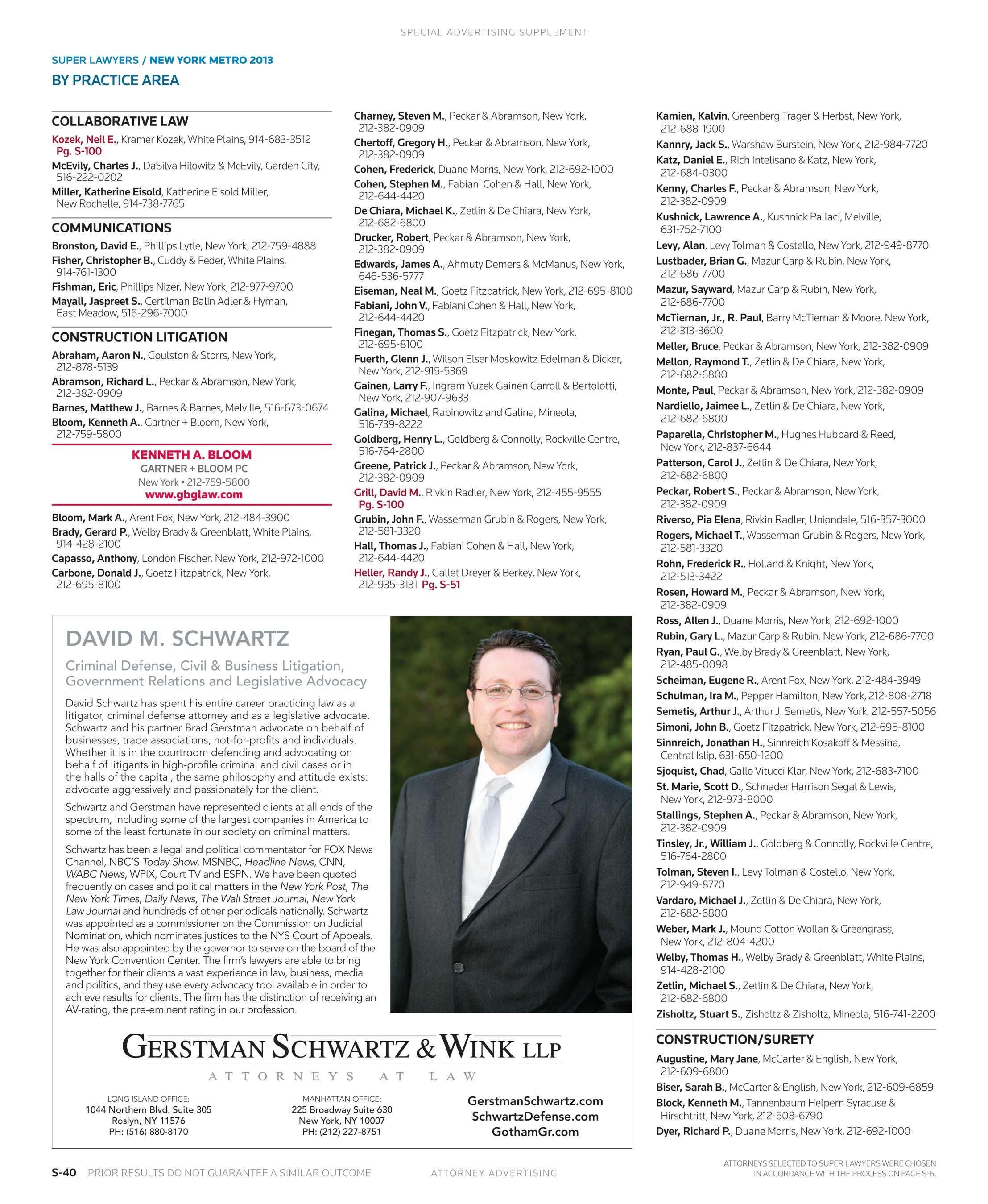 Metro Tannenbaum.Super Lawyers New York Metro 2013 Supplement To The New York