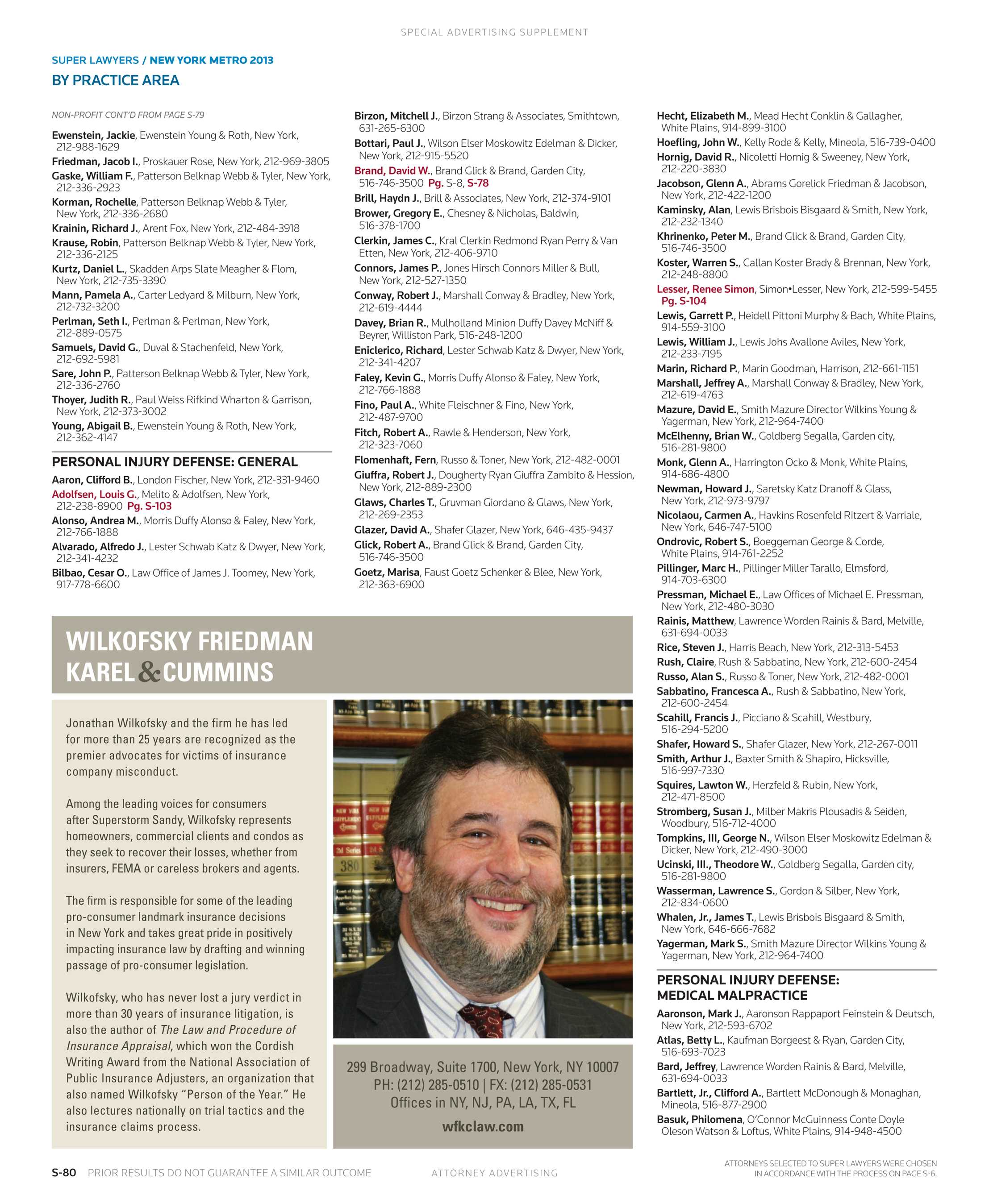 Super Lawyers New York Metro 2013 Supplement To The New York