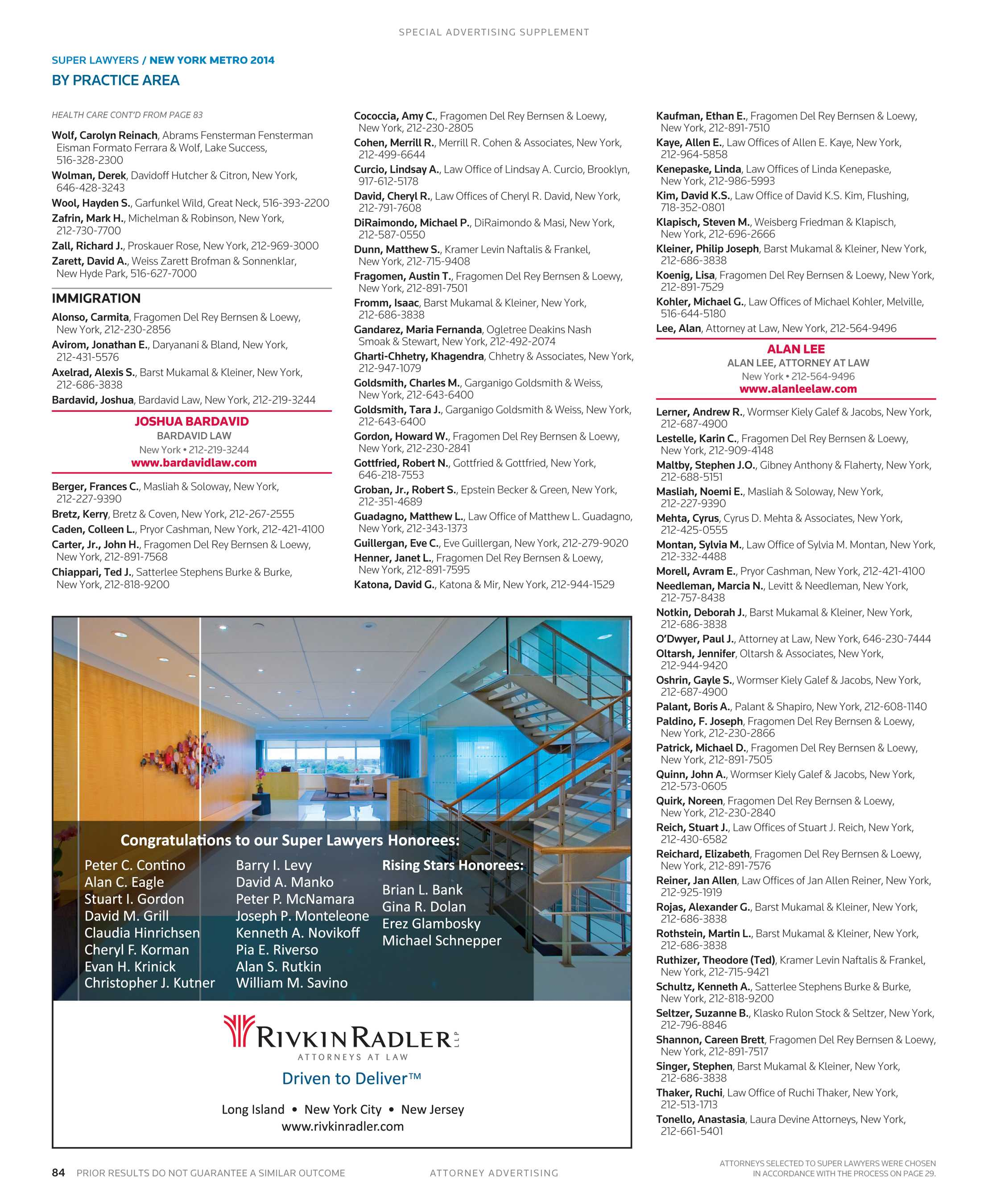 Super Lawyers - New York Metro 2014 Supplement - page 84