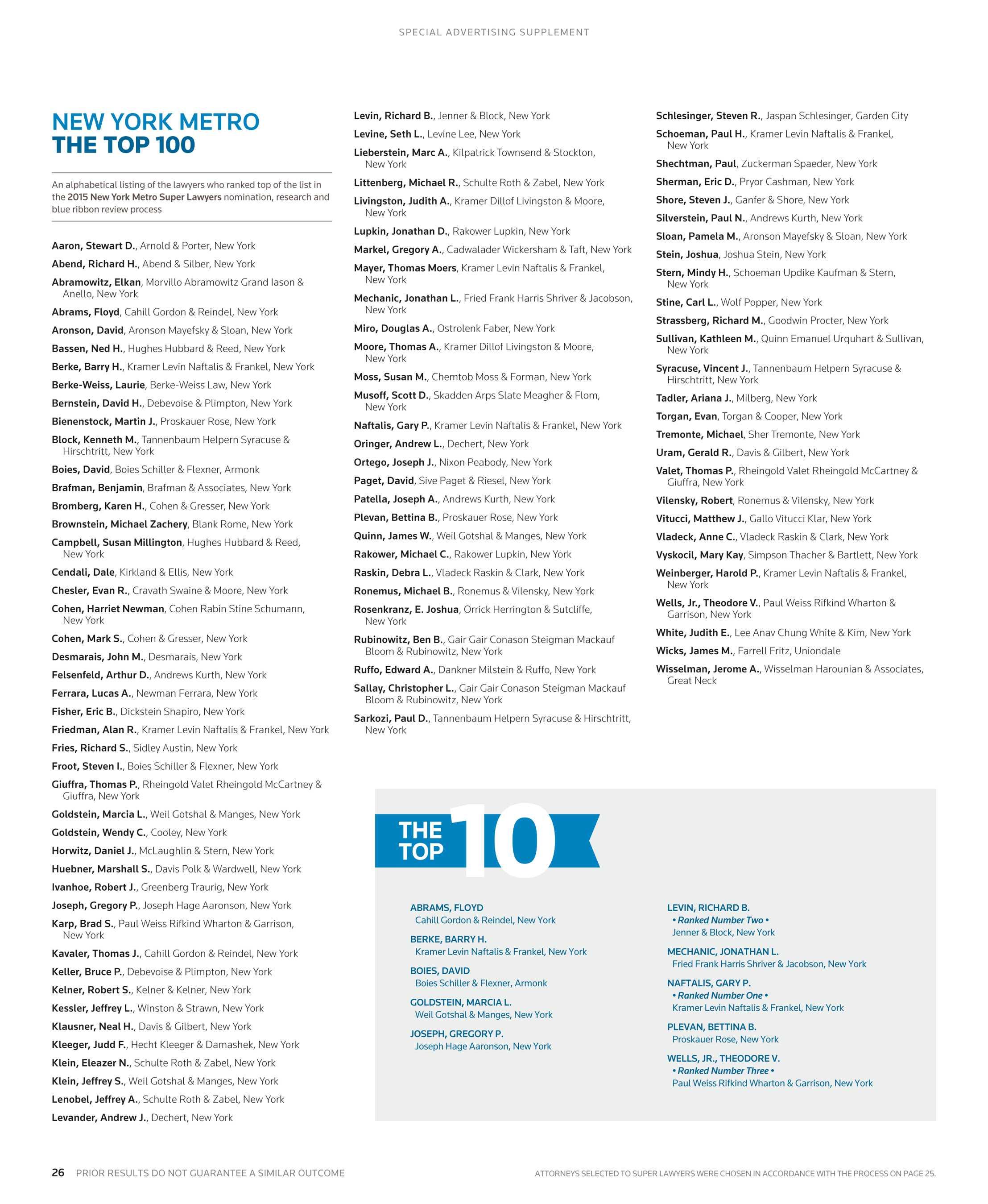 Metro Tannenbaum.Super Lawyers New York Metro 2015 Supplement Page 26