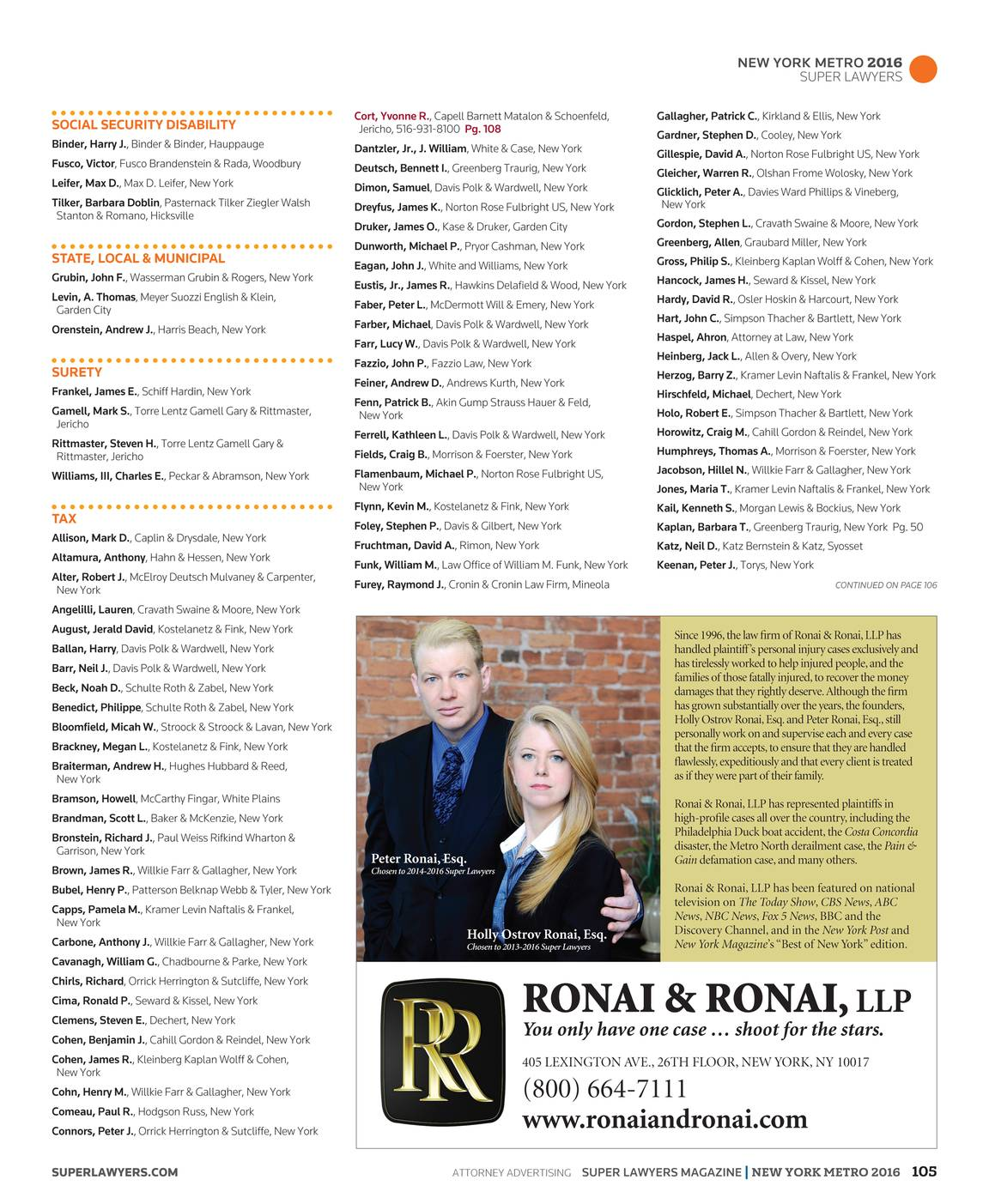 Super Lawyers - New York Metro 2016 - page 104