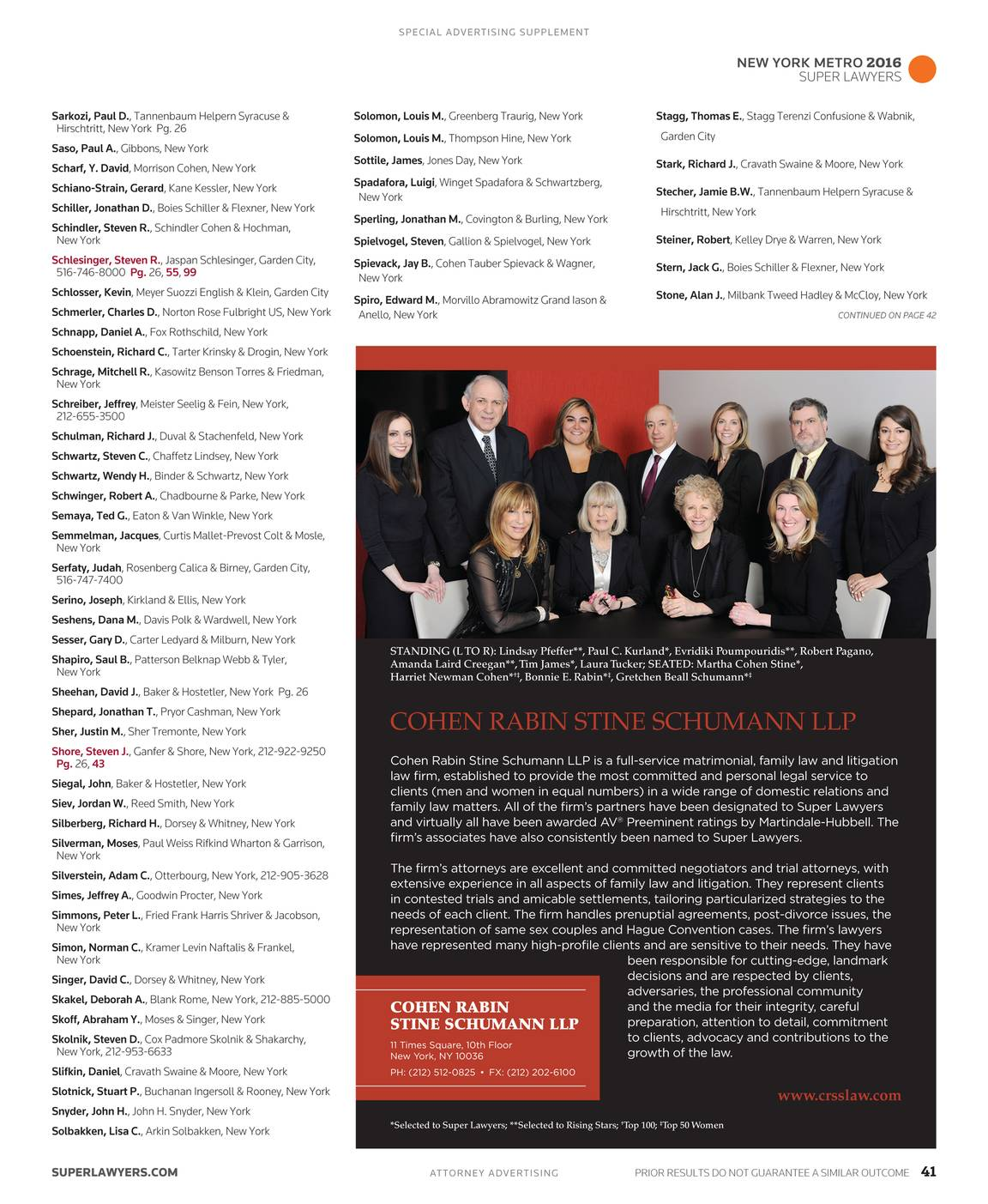 Super Lawyers New York Metro 2016 Supplement Page 41