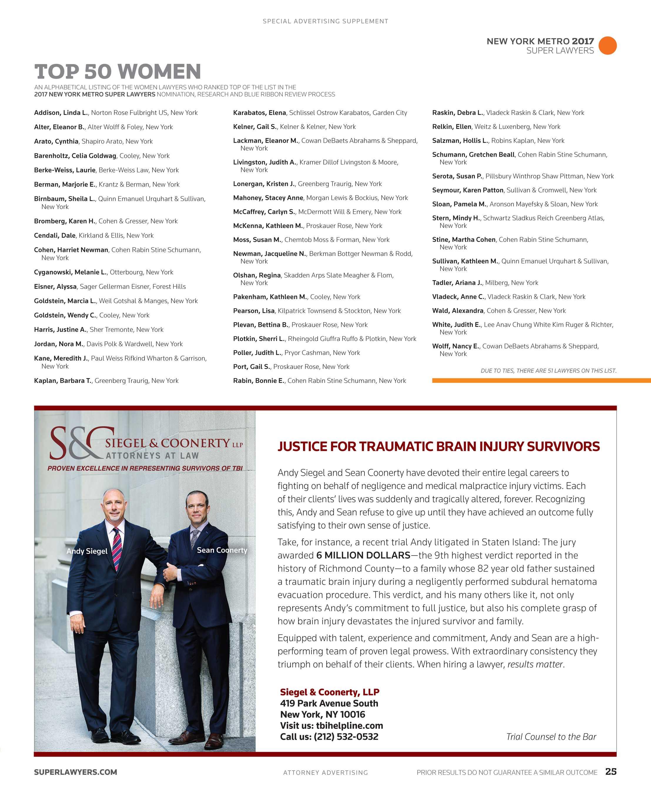 Metro Tannenbaum.Super Lawyers New York Metro 2017 Supplement Page 25