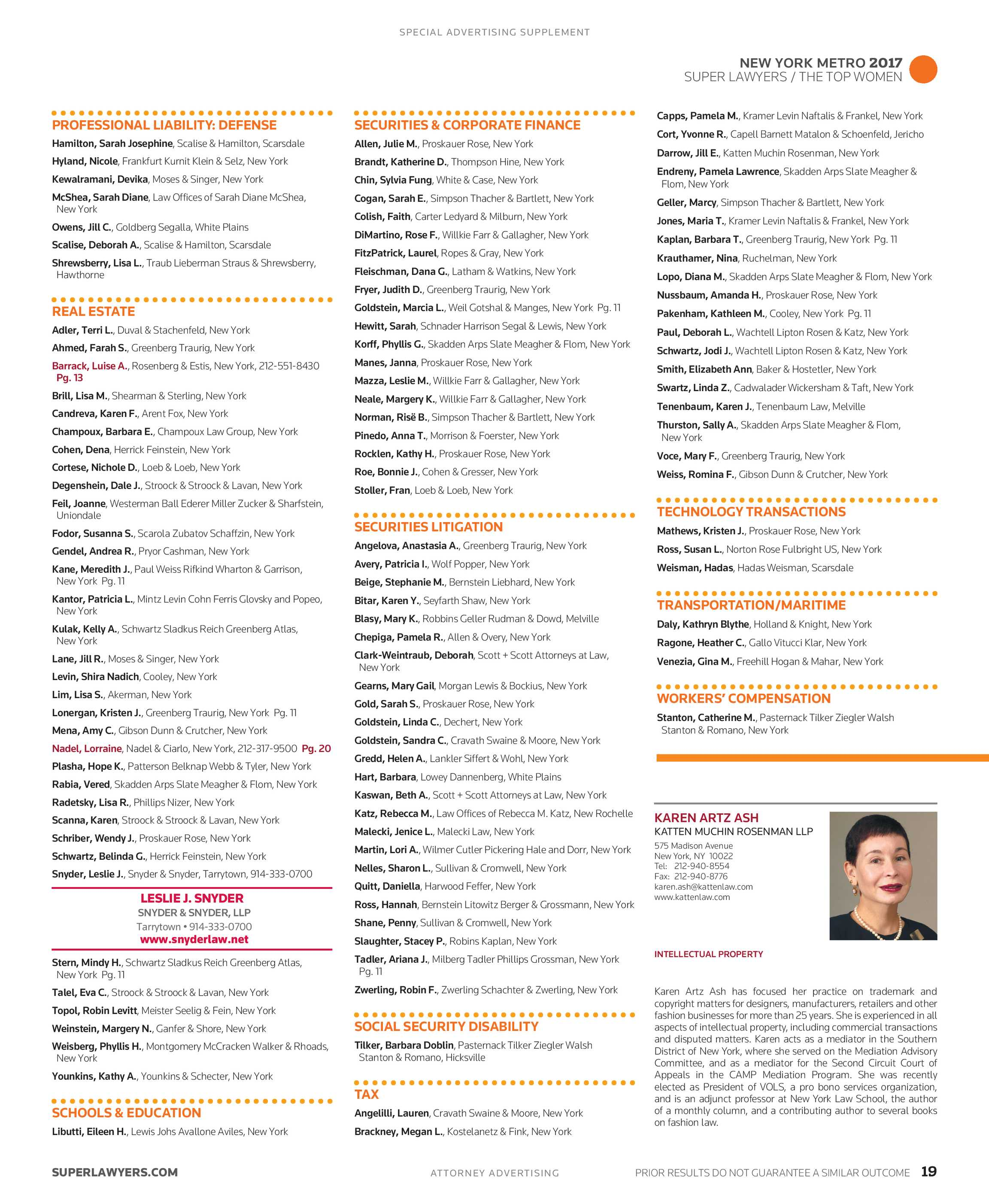 7e7fd22bea Super Lawyers - The Top Women Attorneys in New York Metro 2018 - page 19