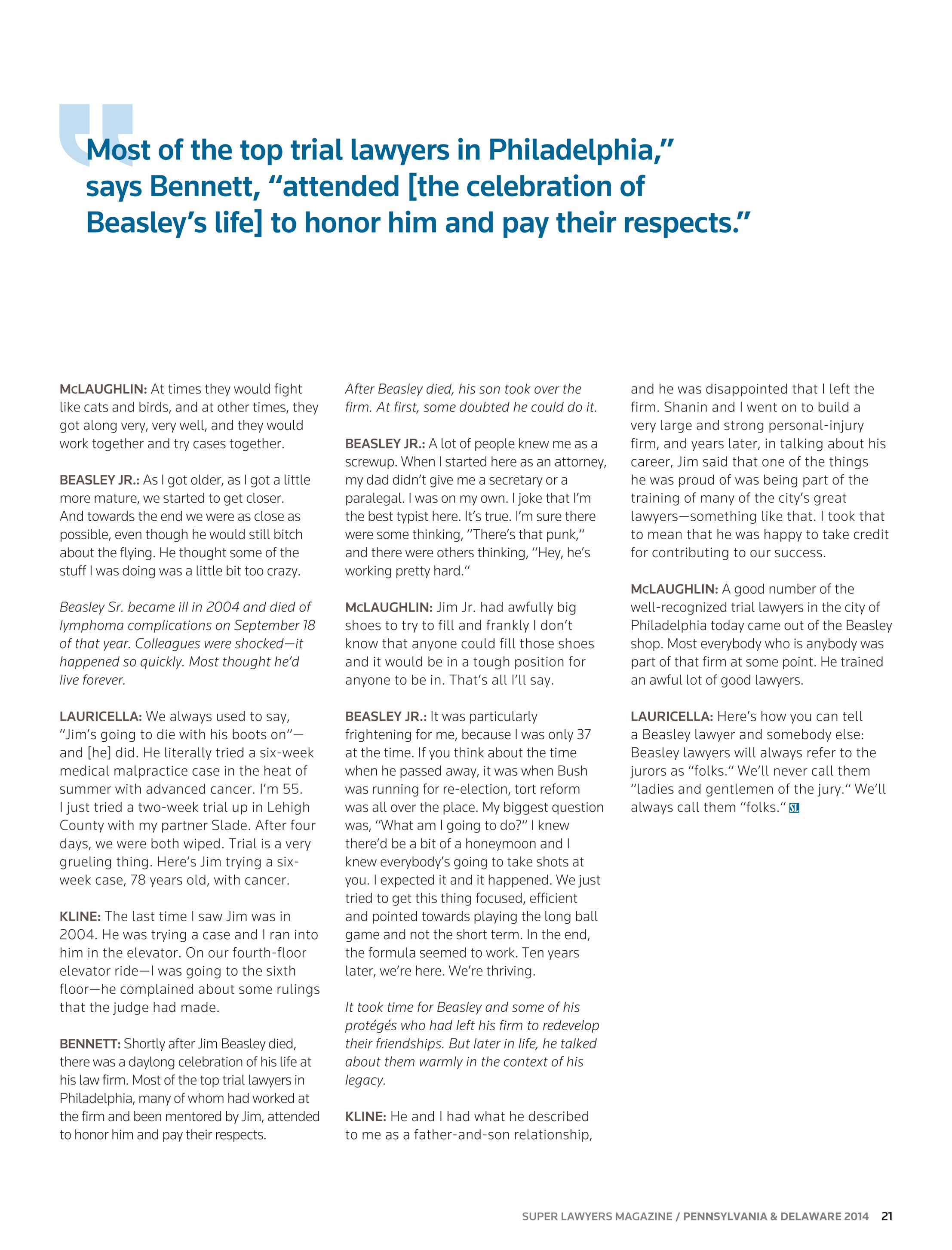 Super Lawyers - Pennsylvania and Delaware 2014 - page 21