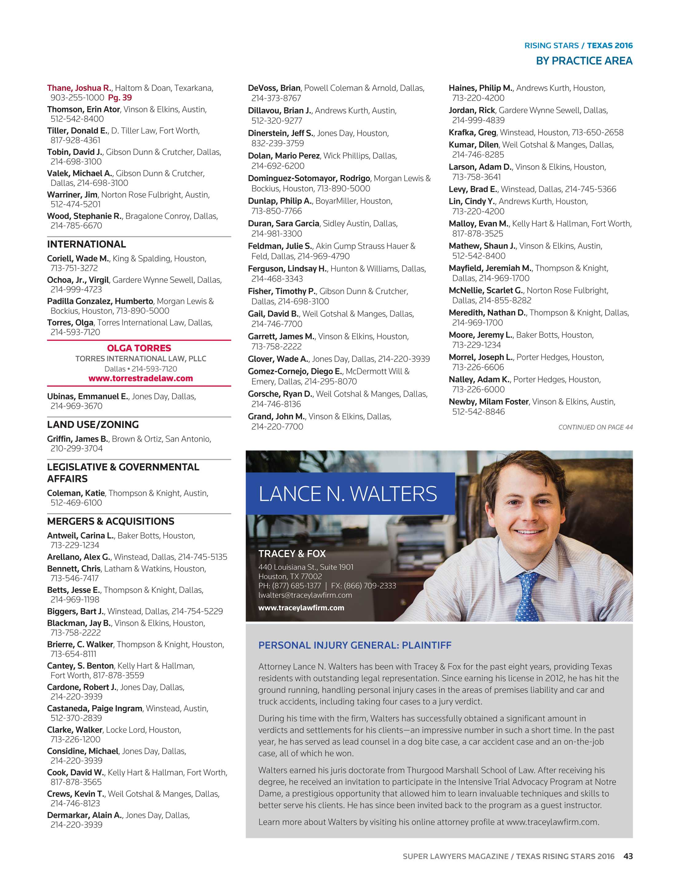 Super Lawyers - Texas Rising Stars 2016 - page 43