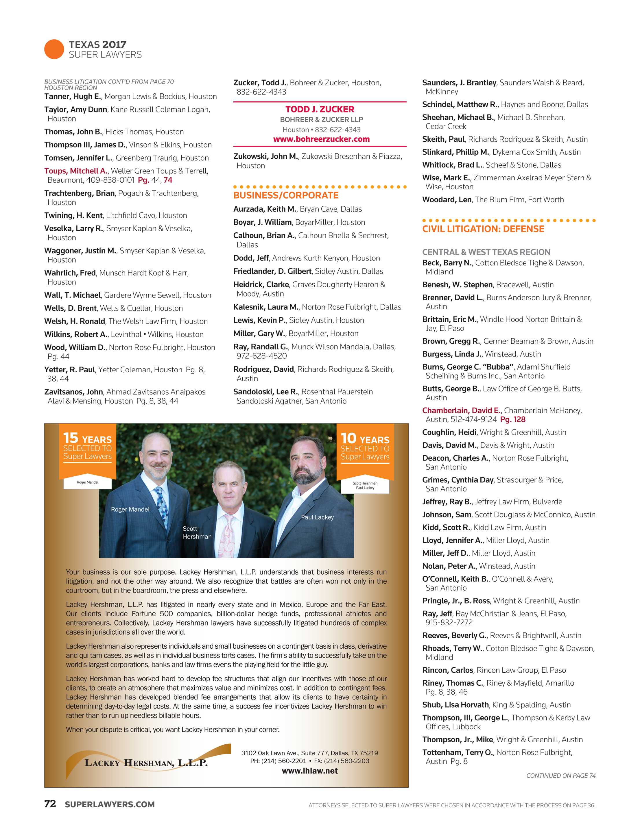 Super Lawyers - Texas 2017 - page 72