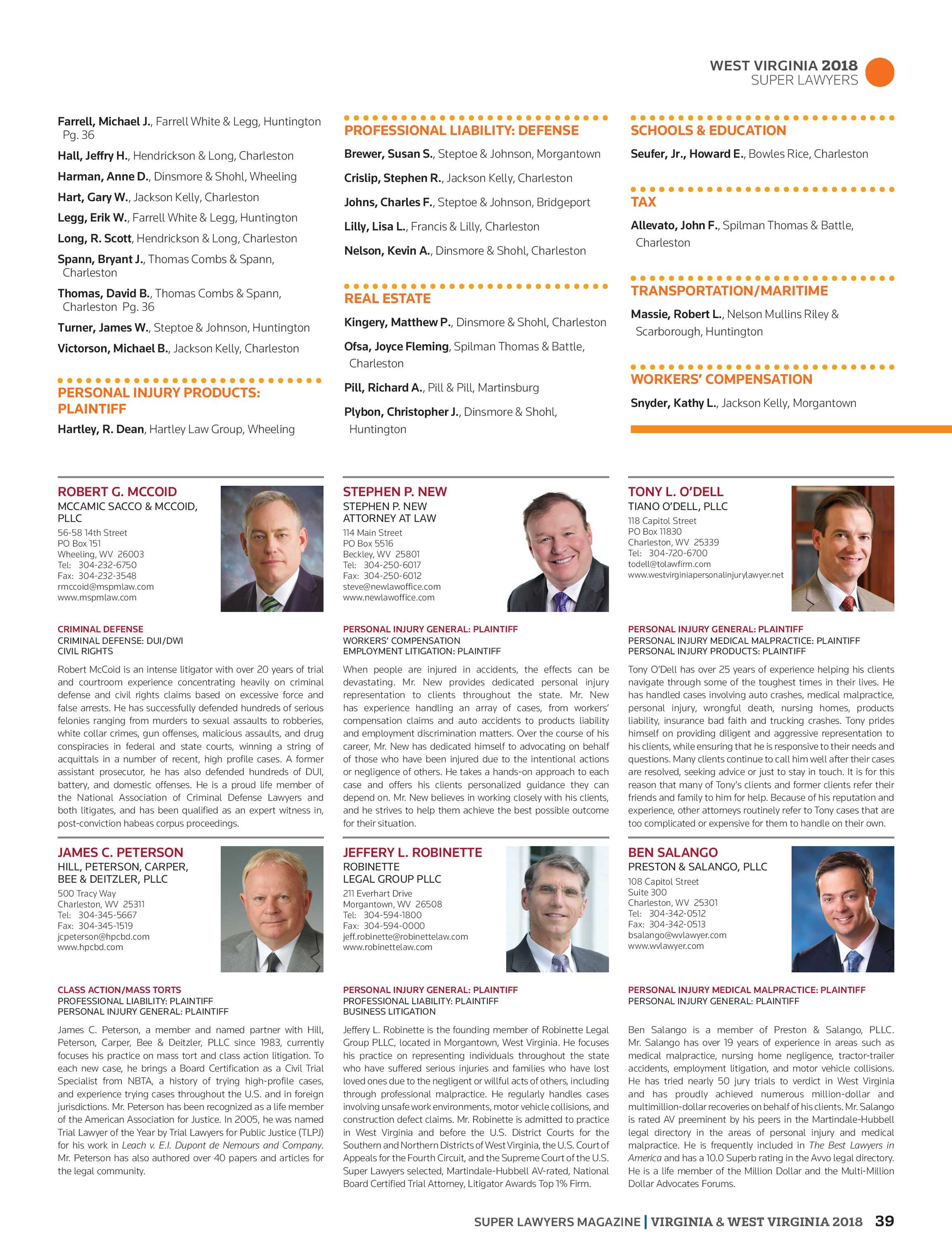 Super Lawyers - Virginia and West Virginia 2018 - page 39