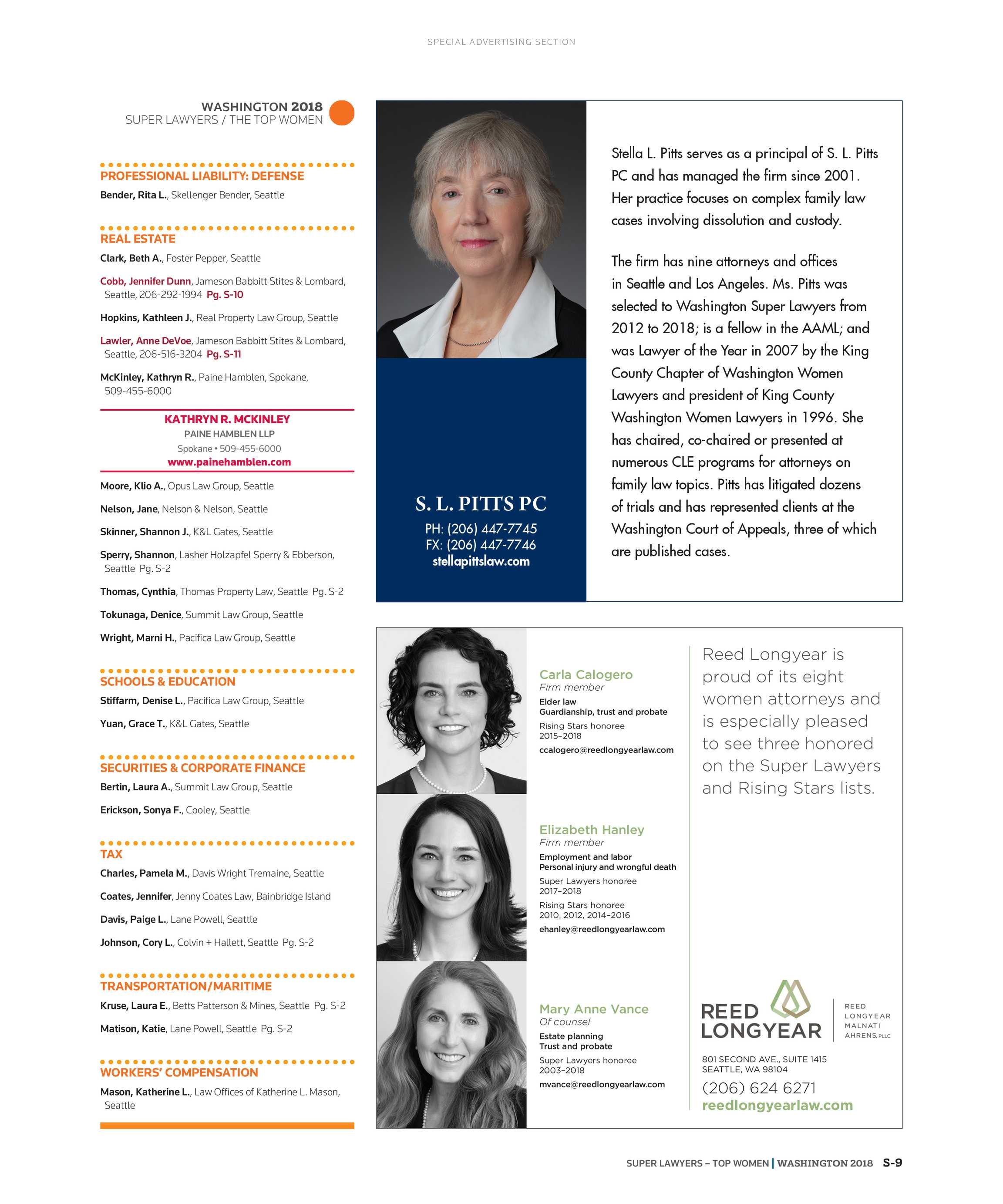 Super Lawyers - The Top Women Attorneys in Washington 2018 - page S-9