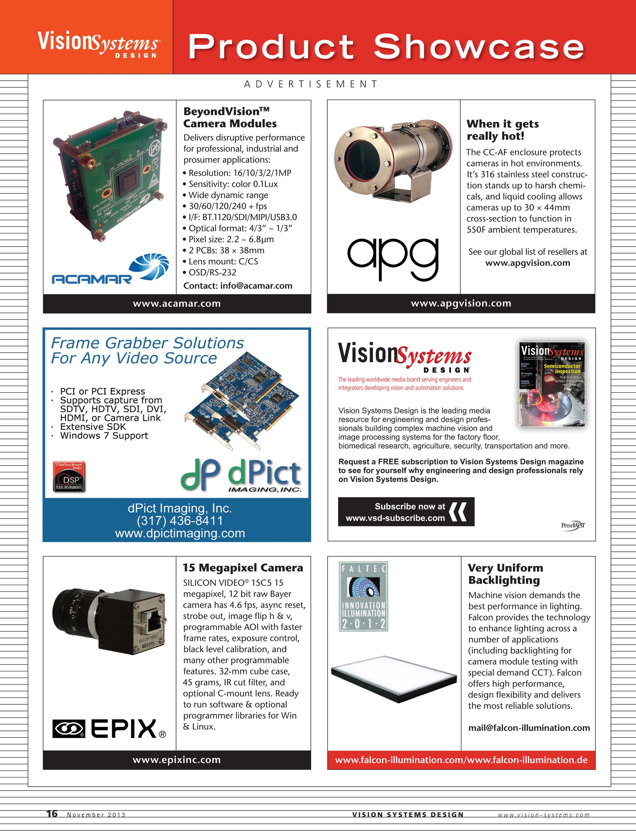 Vision Systems - November 2013 - page 16