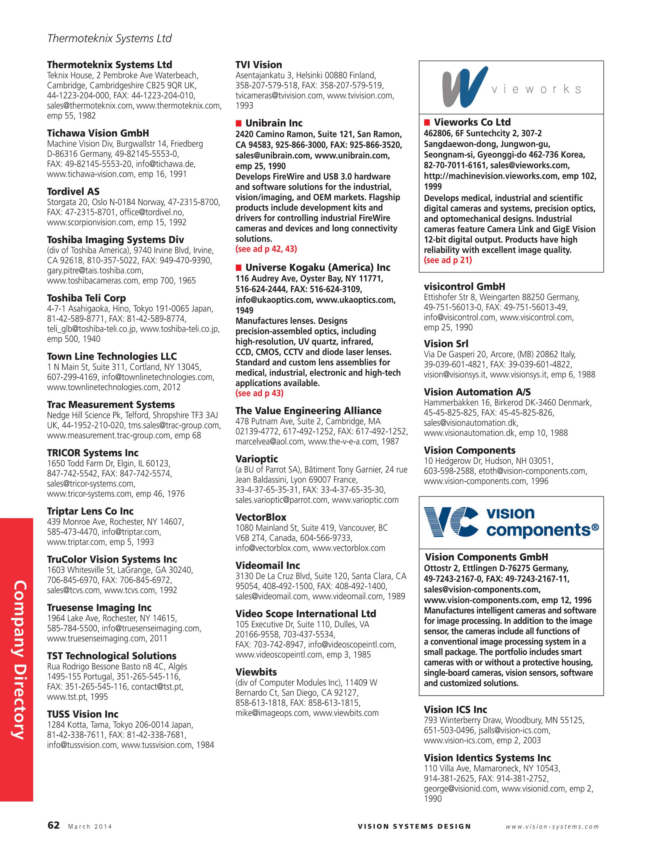 Vision Systems - March 2014 - page 62