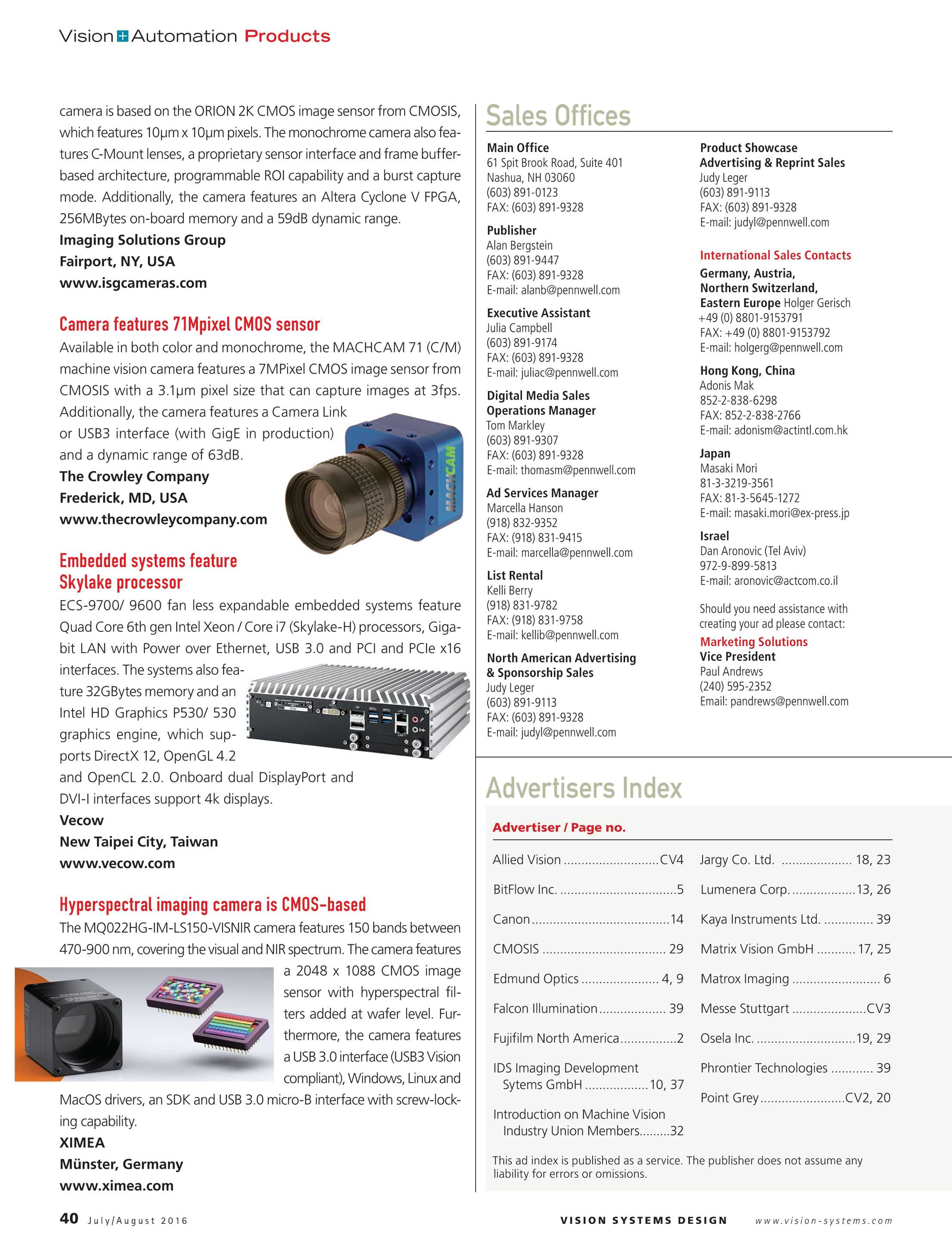 Vision Systems - July/August 2016 - page 40